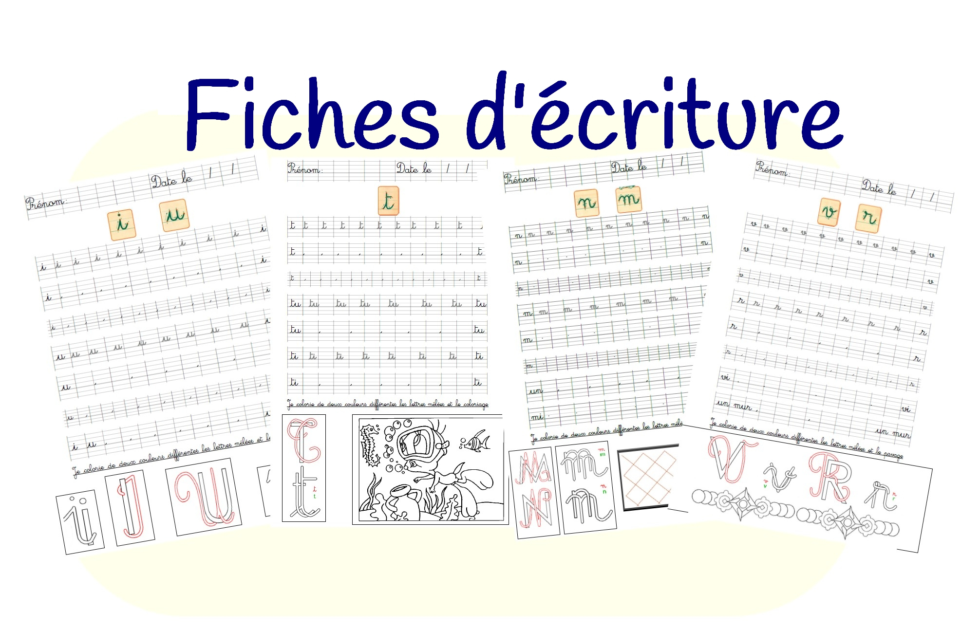 Fiches D'entraînement D'écriture Cursive pour Jeux Maternelle Grande Section En Ligne