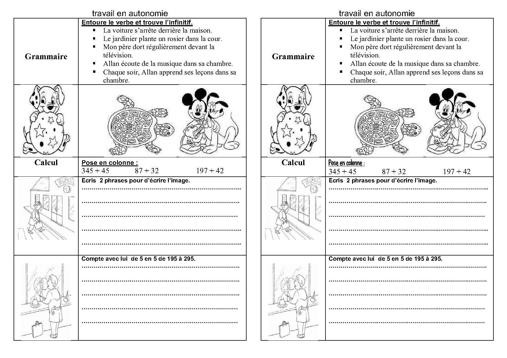 Fiches Et Travail En Autonomie Ce1,ce2 En Français Et Maths concernant Cours Ce2 A Imprimer