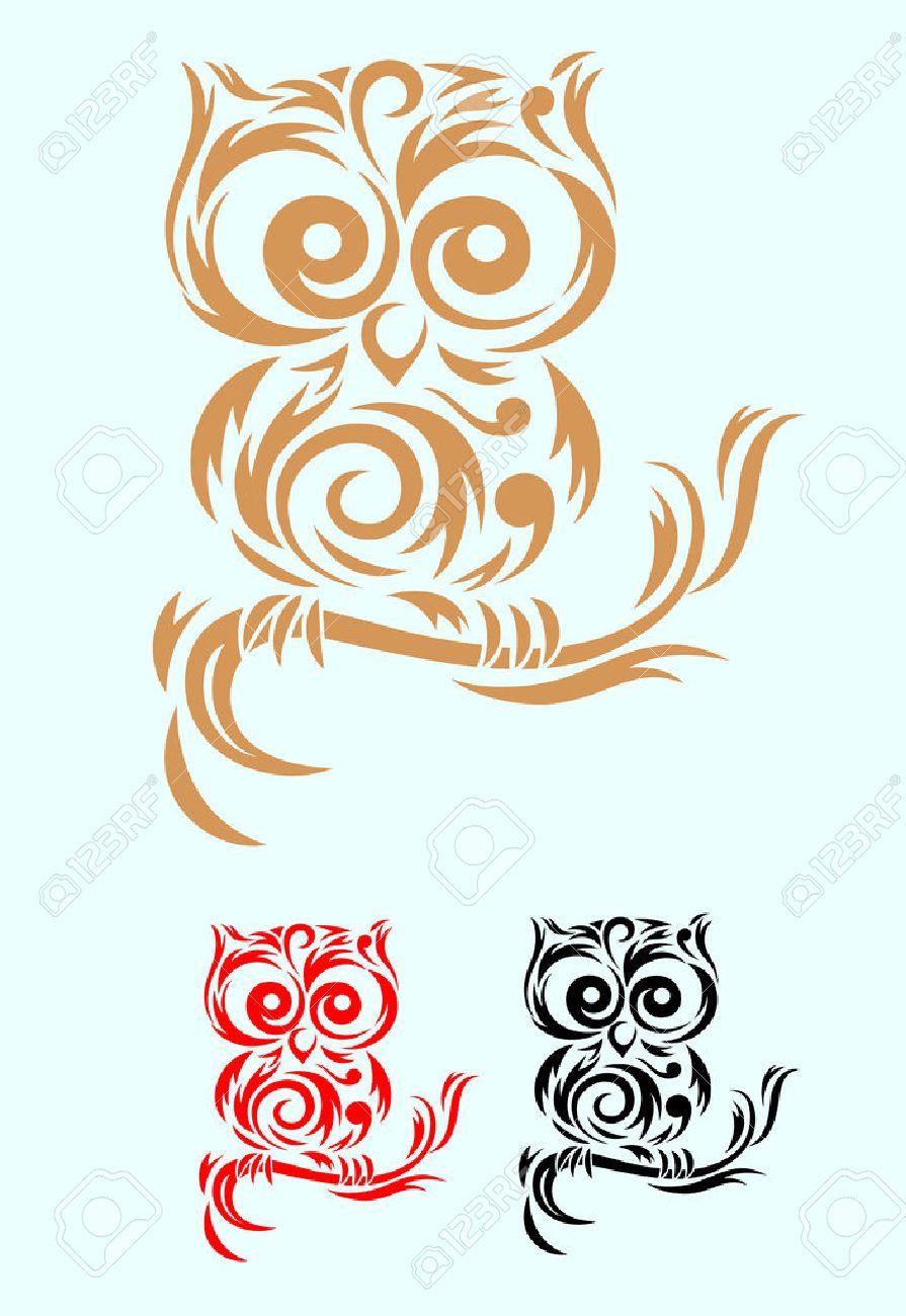 , Fichier Vectoriel Art D'oiseau De Hibou Tribal Et Facile À Utiliser tout Dessin Hibou Facile
