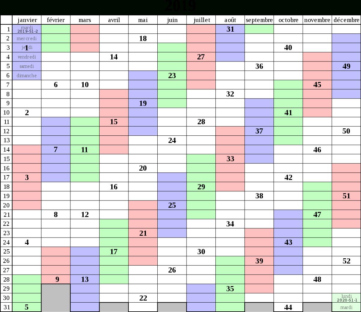 Fichier:calendrier 2019 Semaines Iso Fr.svg — Wikipédia encequiconcerne Calendrier 2019 Avec Semaine
