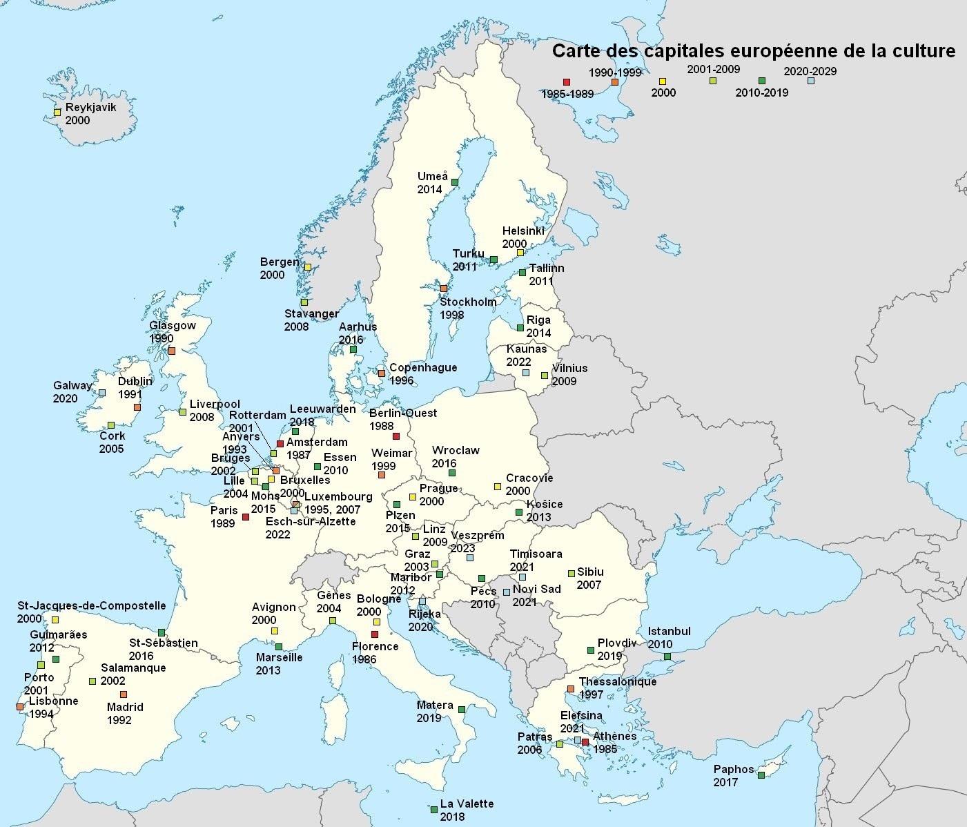Fichier:carte Des Capitales Européennes De La Culture concernant Carte Europe Avec Capitales