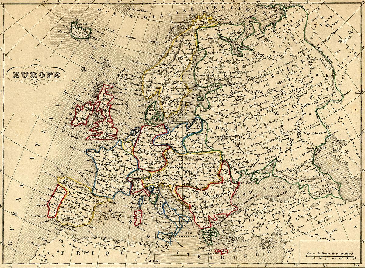 Fichier:carte Europe 1843 — Wikipédia pour Carte Europe De L Est