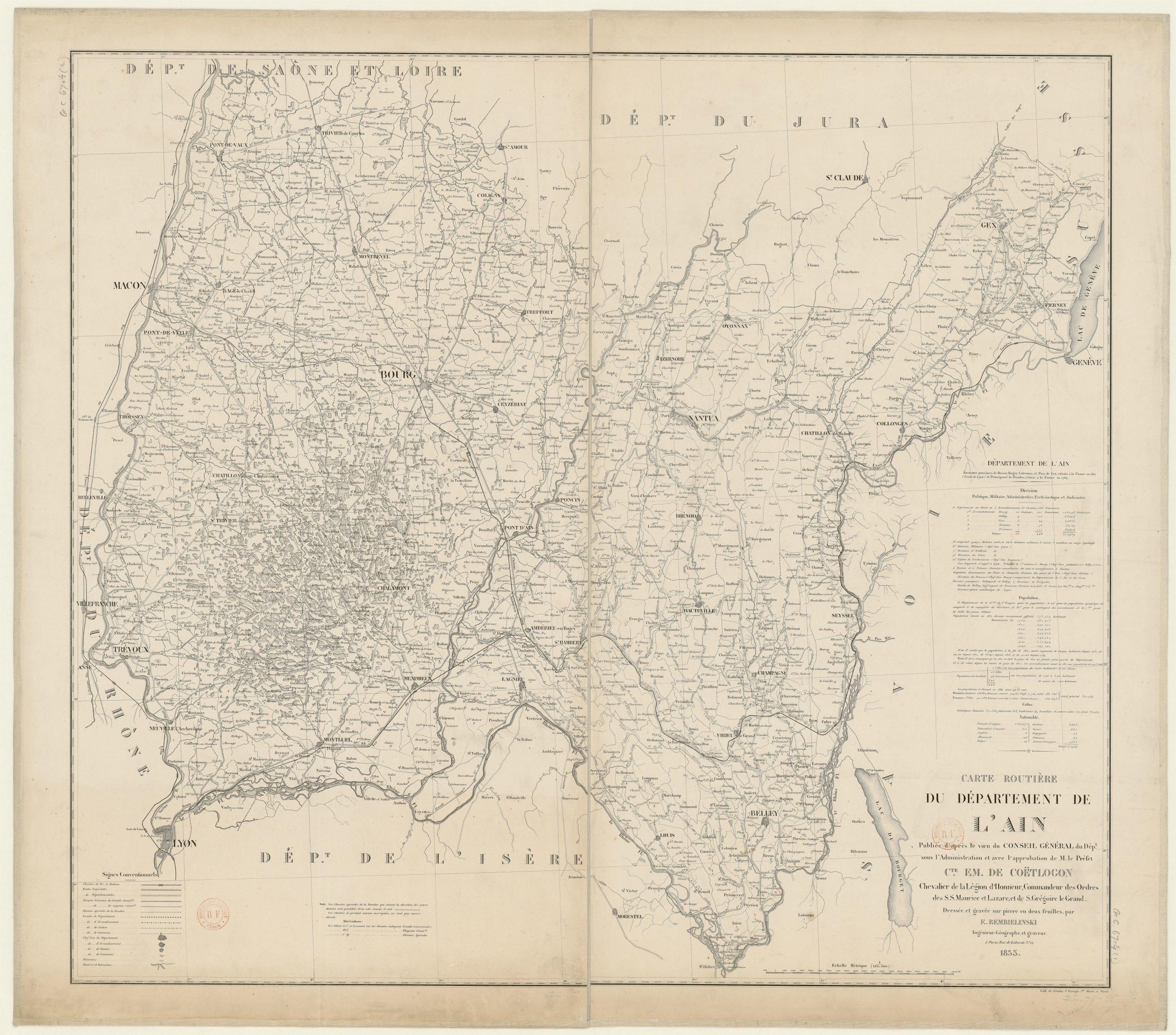 Fichier:carte Routière Du Département De L'ain - 1855 intérieur Département 13 Carte