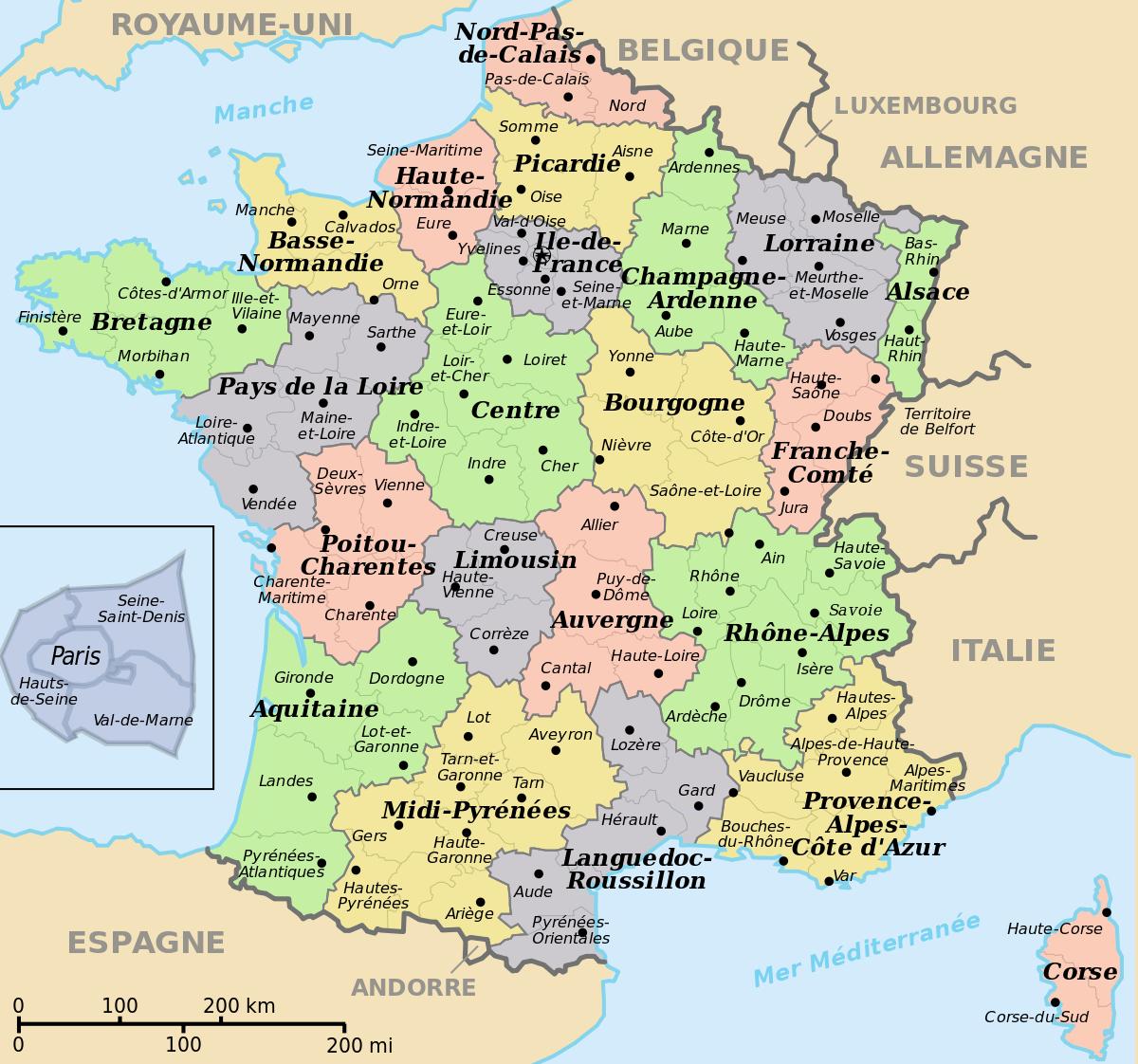 Fichier:départements+Régions (France).svg — Wikipédia pour Carte De La France Avec Les Régions