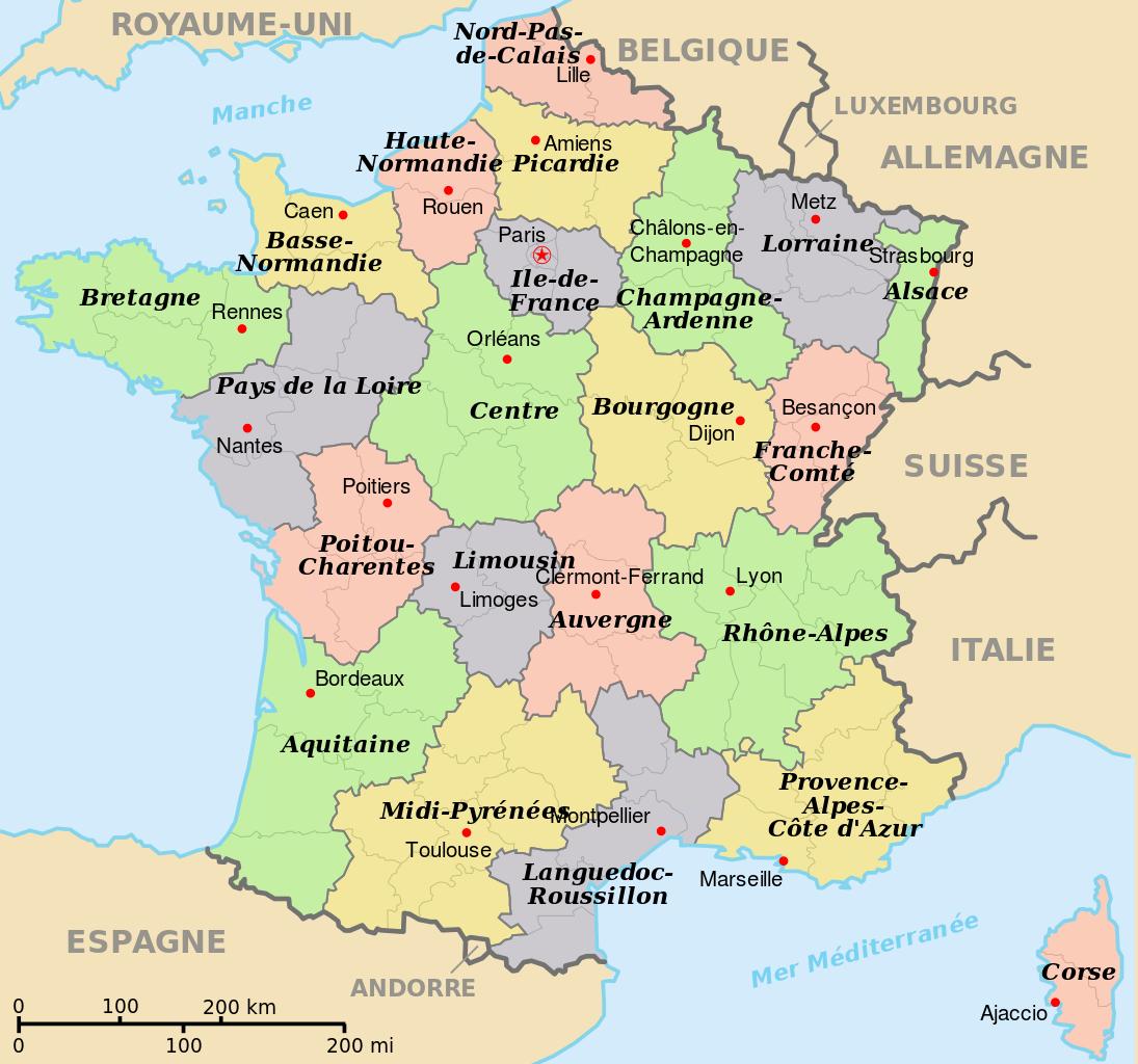 Fichier:départements+Régions+Capitales(France).svg tout Carte De La France Avec Les Régions