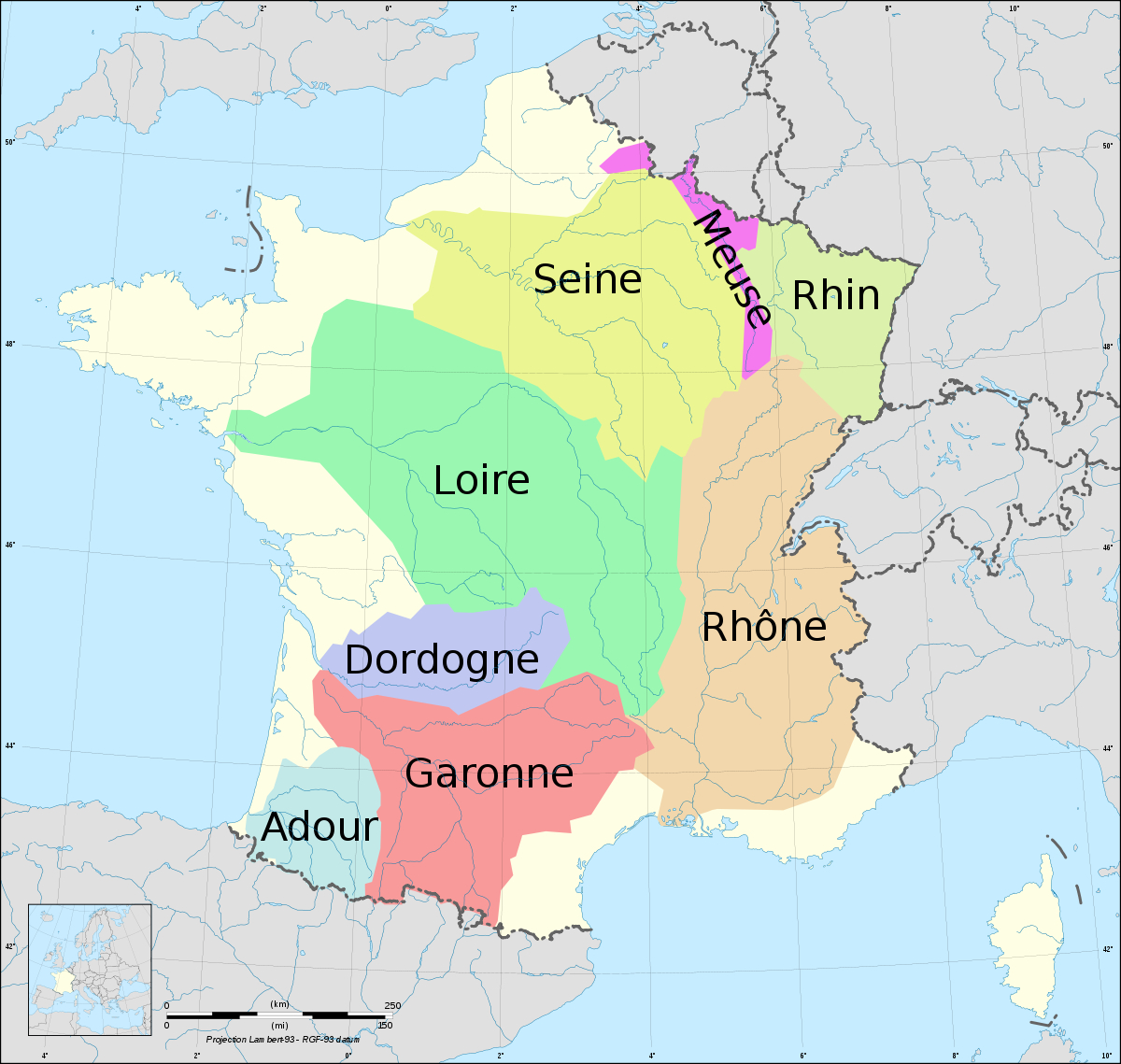 Fichier:france Drainage Basins.svg — Wikipédia destiné Carte Fleuve France