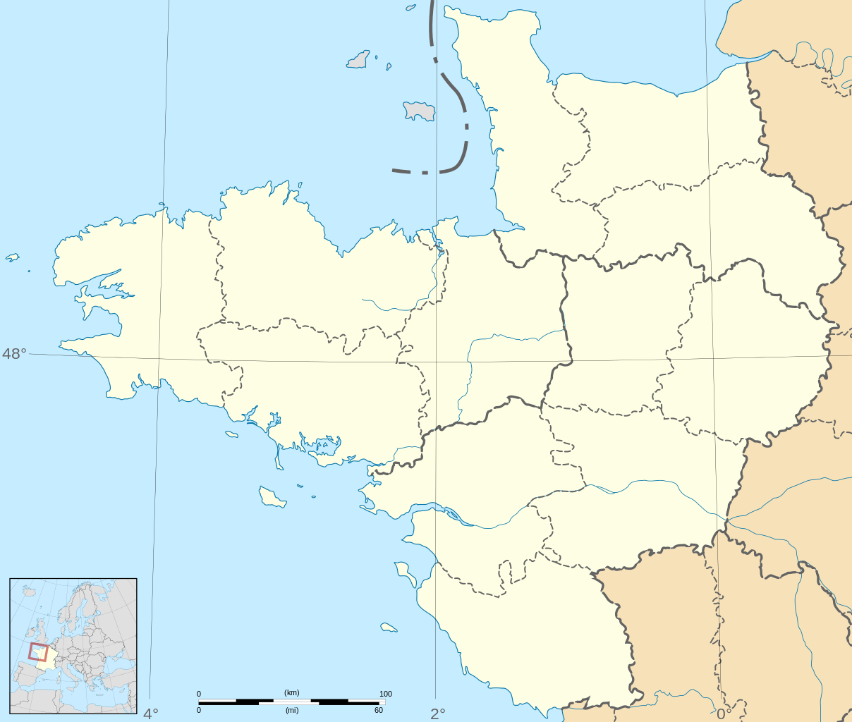 Fichier:france - Grand Ouest - Map-Blank.svg — Wikipédia pour Carte Vierge De La France