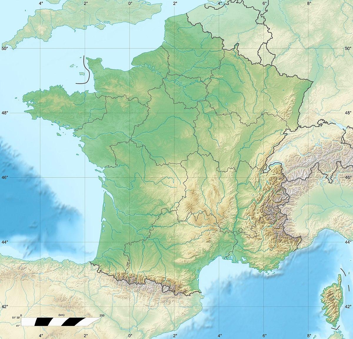 Fichier:france Relief Location Map — Wikipédia pour Carte De France Des Régions Vierge