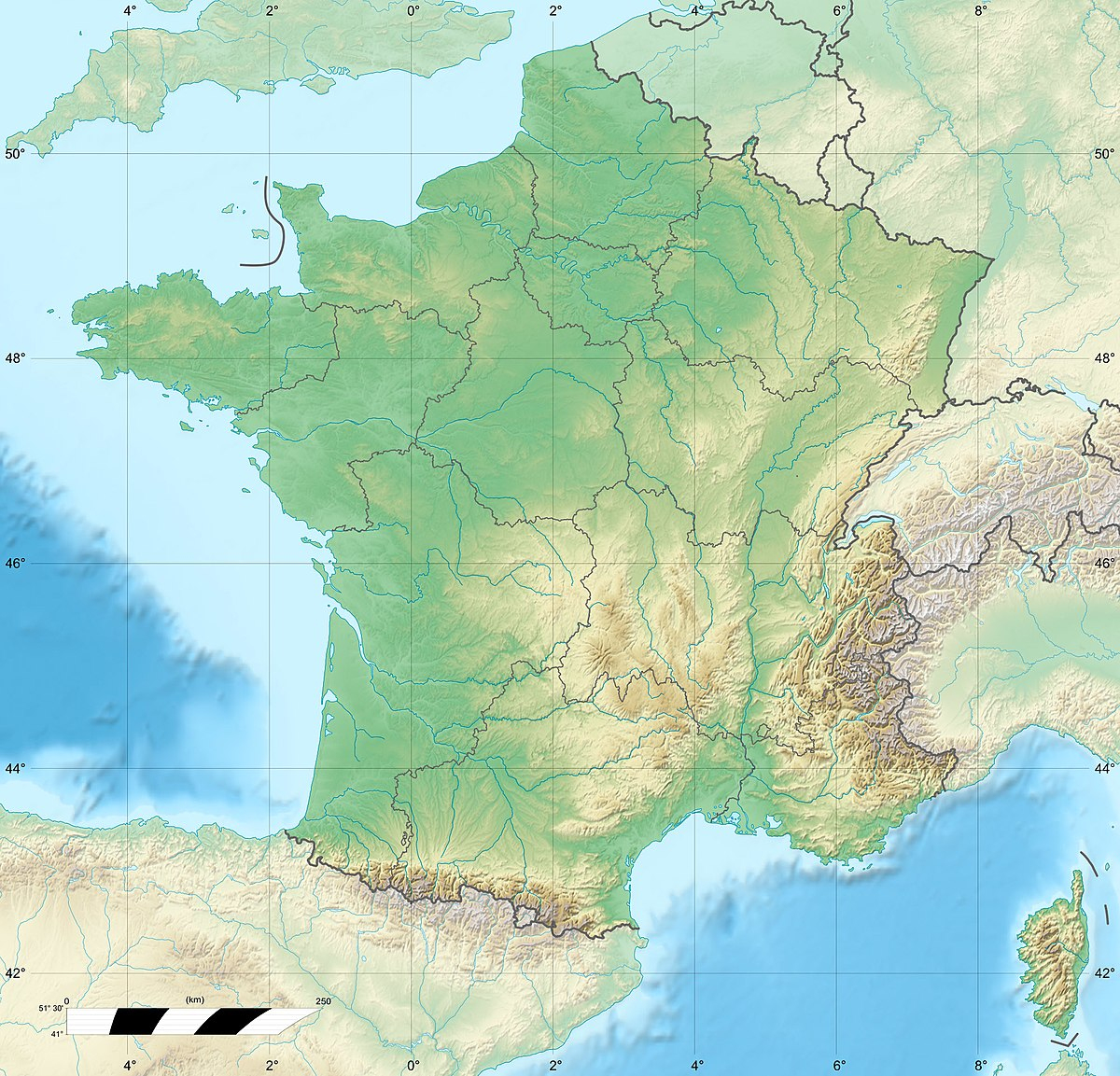 Fichier:france Relief Location Map — Wikipédia serapportantà Carte Vierge De La France