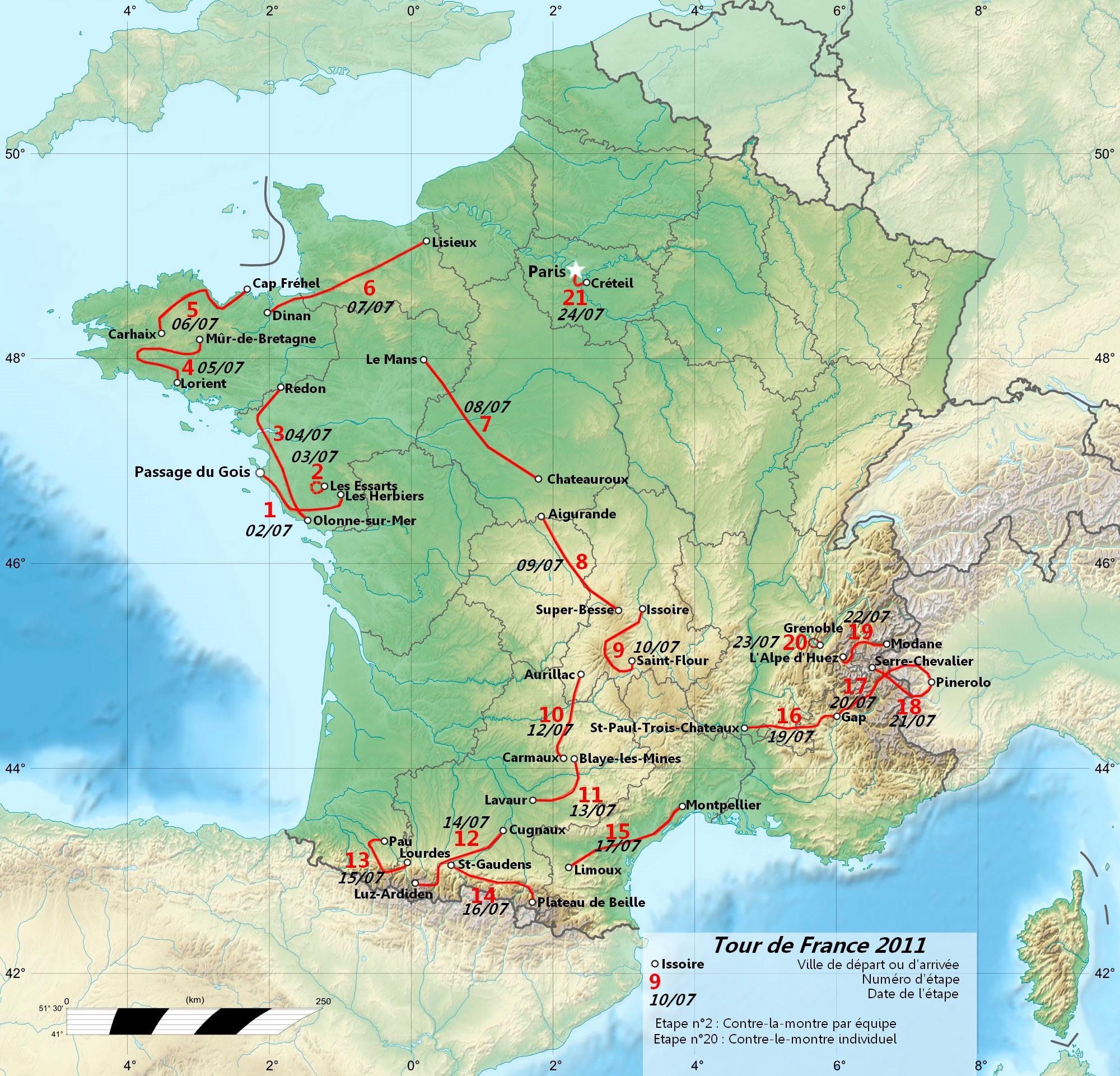 Fichier:parcours Tour De France 2011 — Wikimini, L concernant Carte De France Pour Enfant
