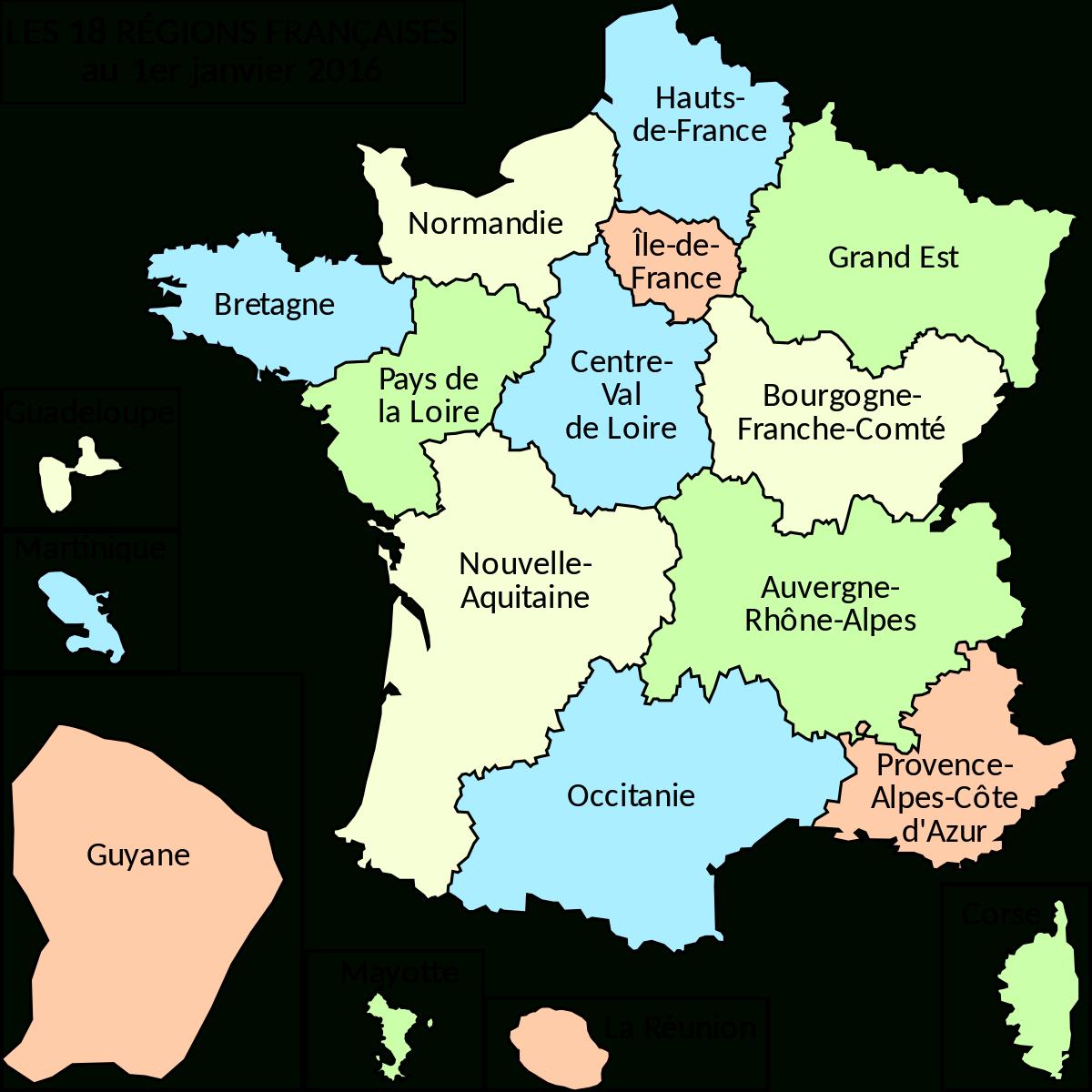 Fichier:regions France 2016.svg — Wikipédia tout Nouvelles Régions De France 2016