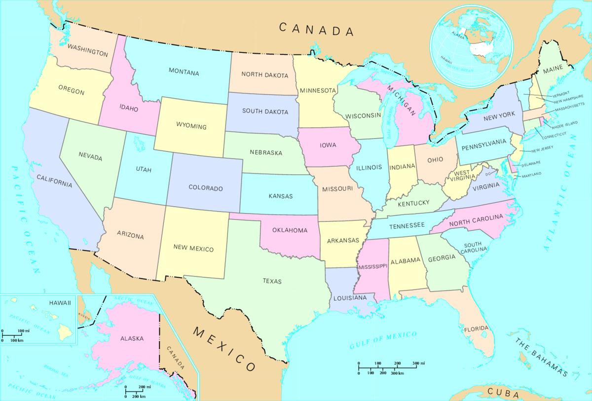 Fichier:us Map - States — Wikipédia intérieur Carte Etat Amerique