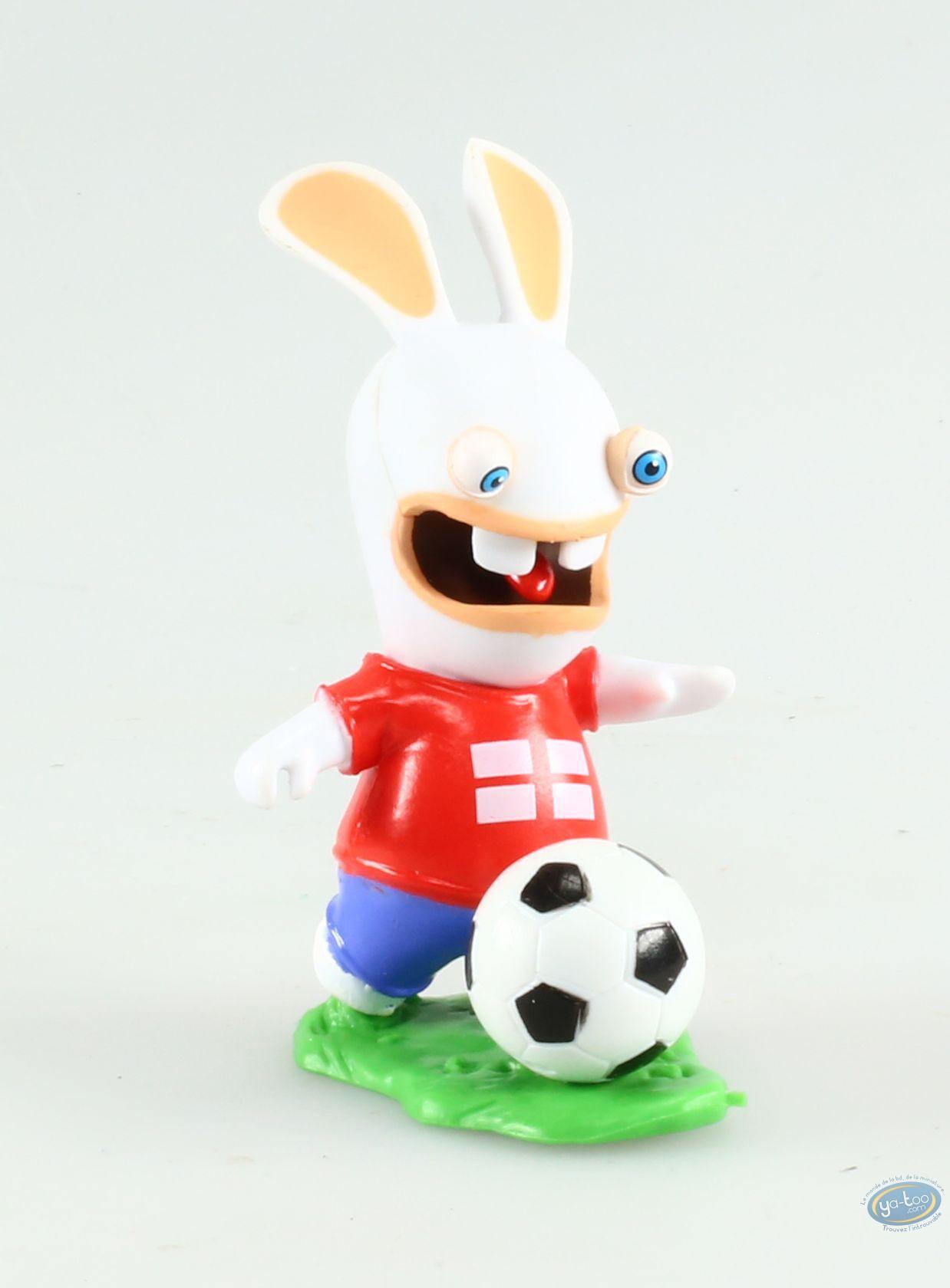 Figurine Plastique, Lapins Crétins (Les) : Footballeur - Drapeau Anglais avec Lapin Crétin À Colorier