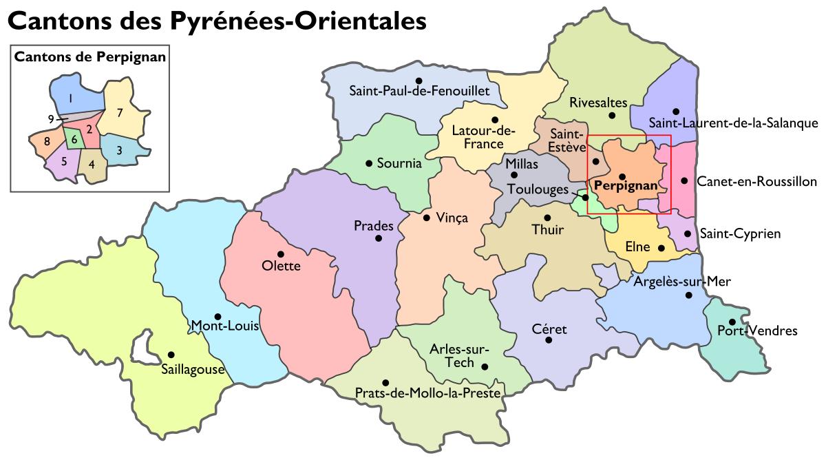 File:cantons Pyrénées-Orientales.svg - Wikimedia Commons pour Decoupage Region France