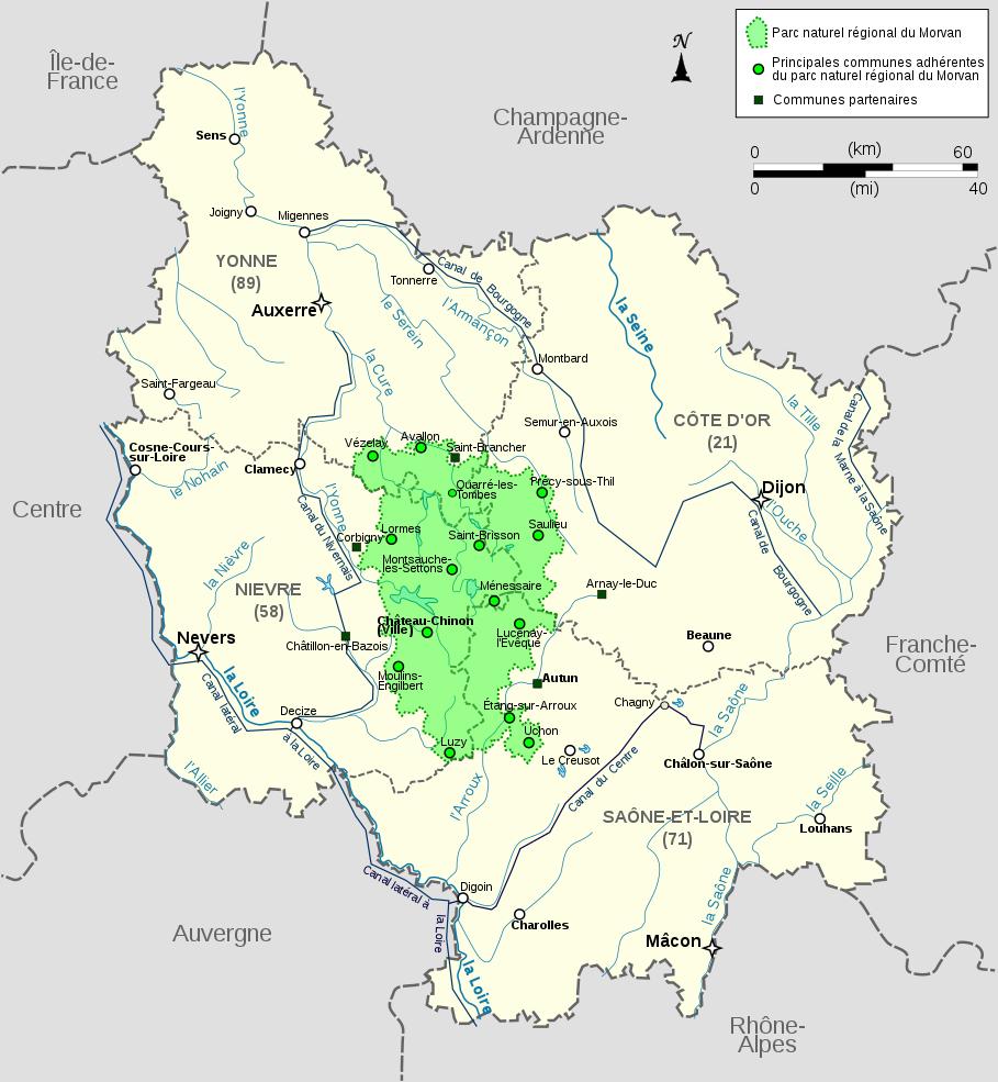 File:carte Du Parc Naturel Régional Du Morvan En Bourgogne pour Carte Numero Departement