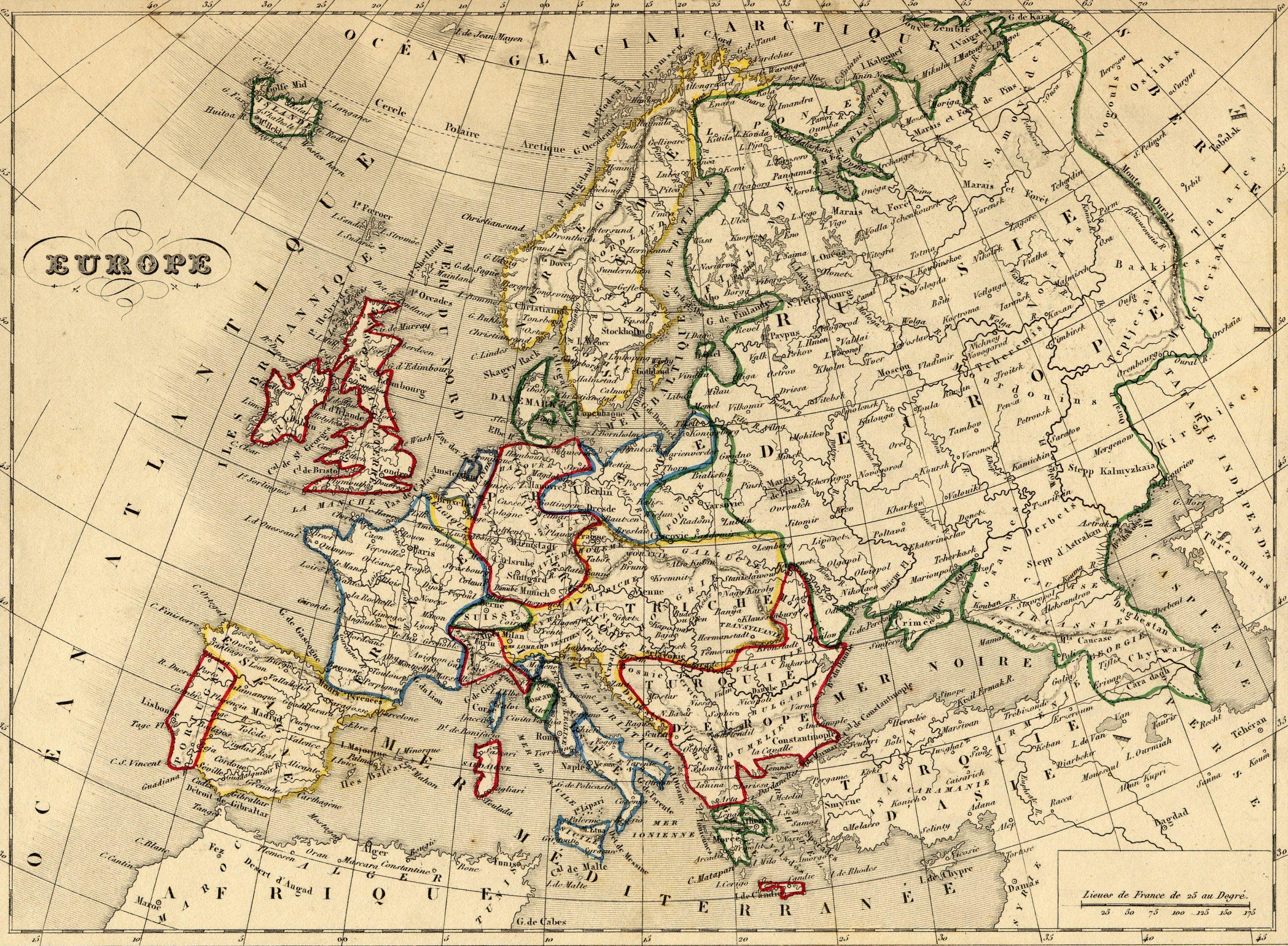 File:carte Europe 1843 - Wikimedia Commons tout Carte D Europe En Francais
