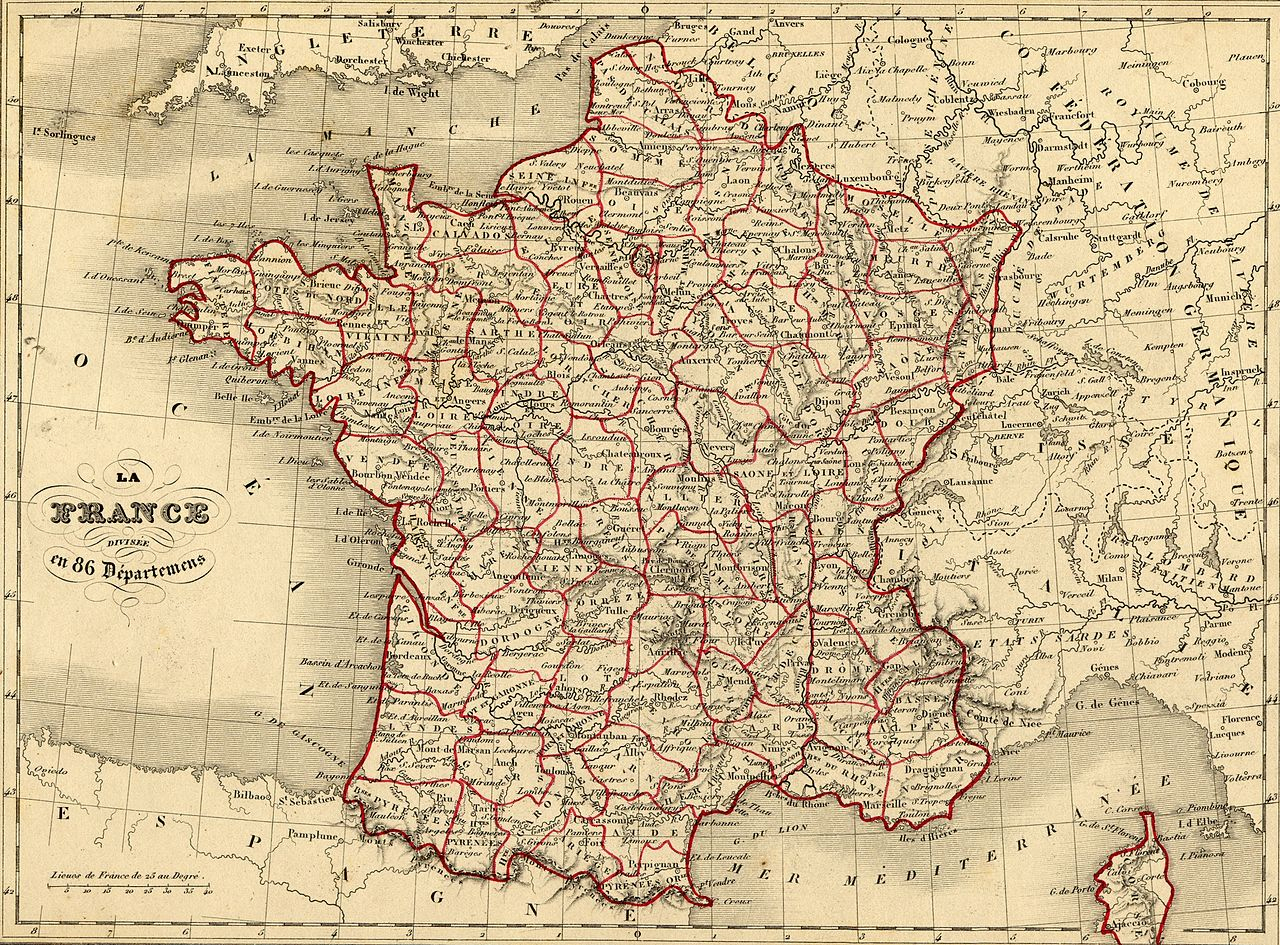 File:carte France Vuillemin 1843 - Wikimedia Commons dedans Carte De France Des Départements