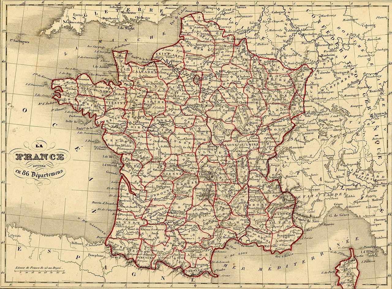 File:carte France Vuillemin 1843 - Wikimedia Commons encequiconcerne Departement Francais Carte