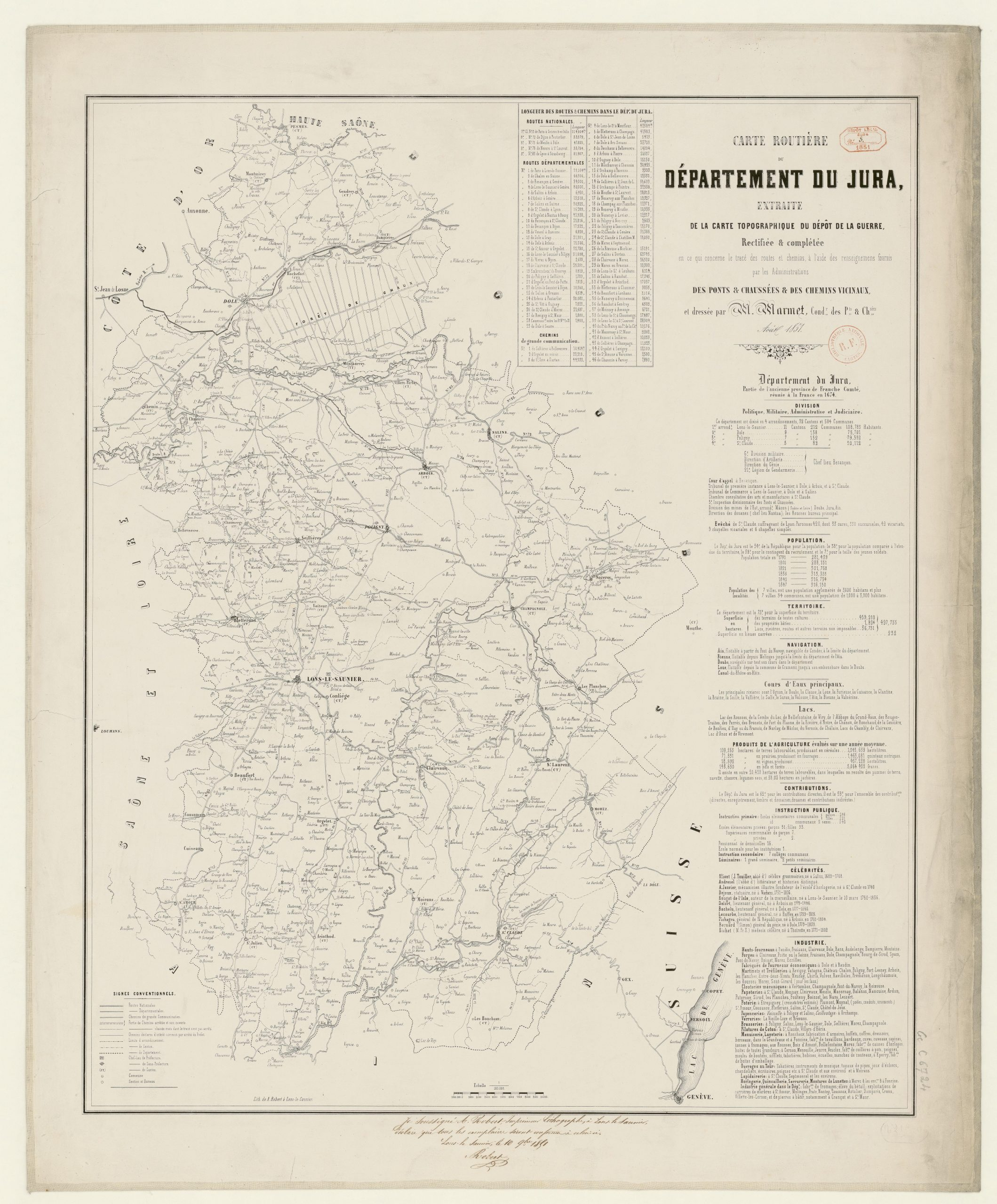 File:carte Routière Du Département Du Jura - 1851 pour Département 13 Carte