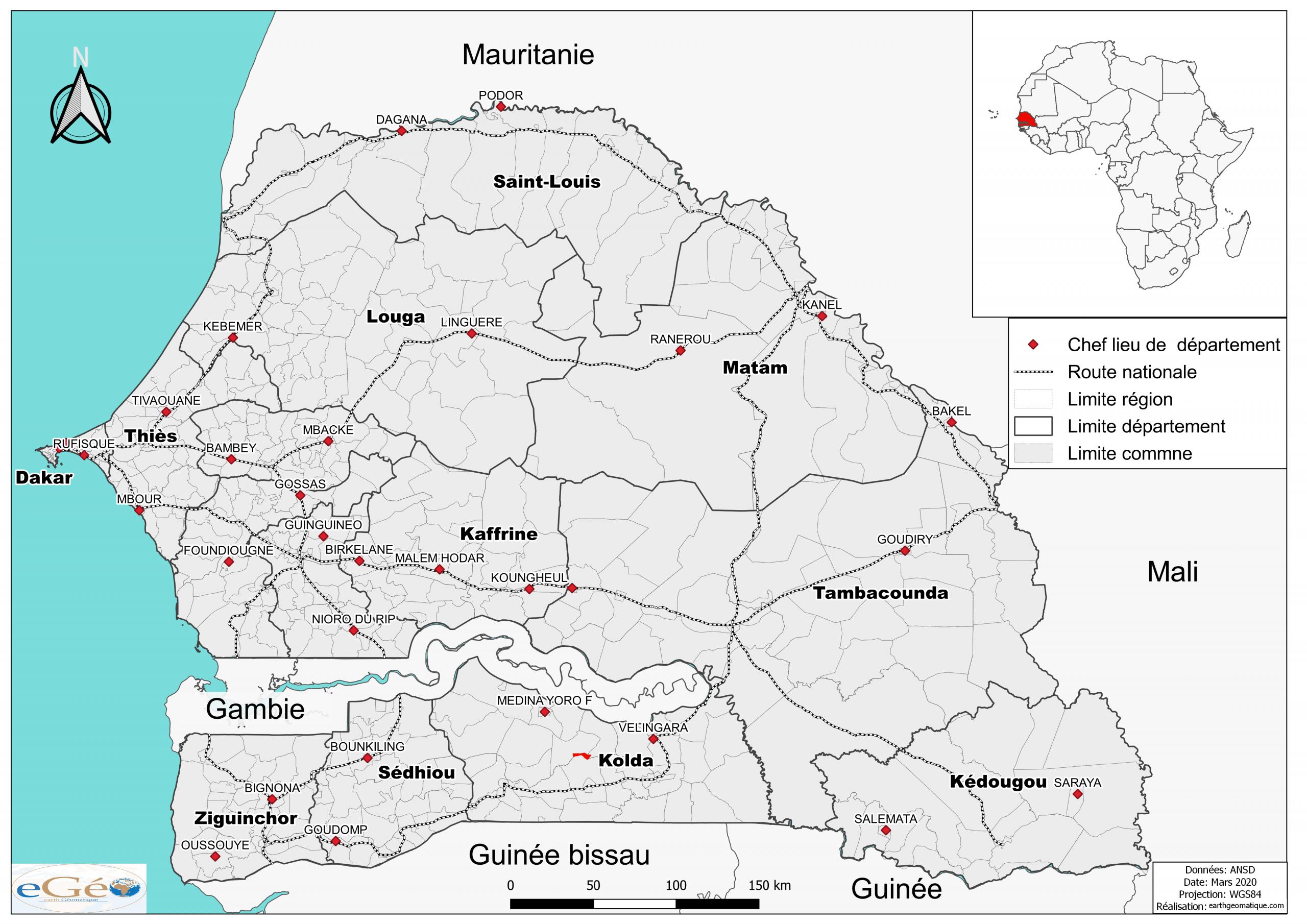 File:carte Senegal - Wikimedia Commons tout Carte Region Departement