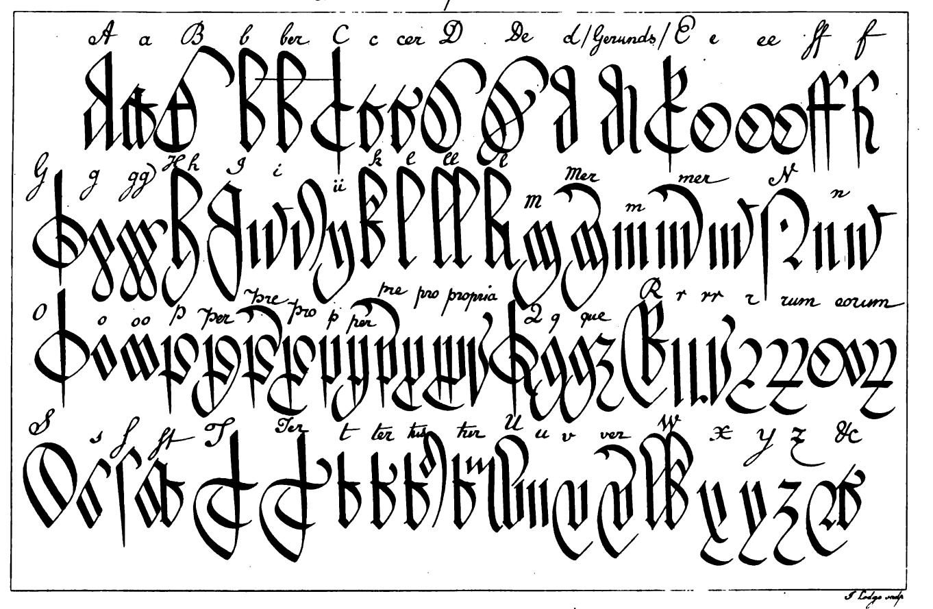 File:court Hand Alphabet And Abbreviations - Wikimedia intérieur Alphabet Français Écriture