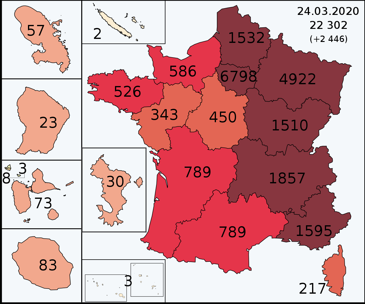 File:covid-19 Outbreak Cases In France 13 Regions & Domtom intérieur 13 Régions Françaises