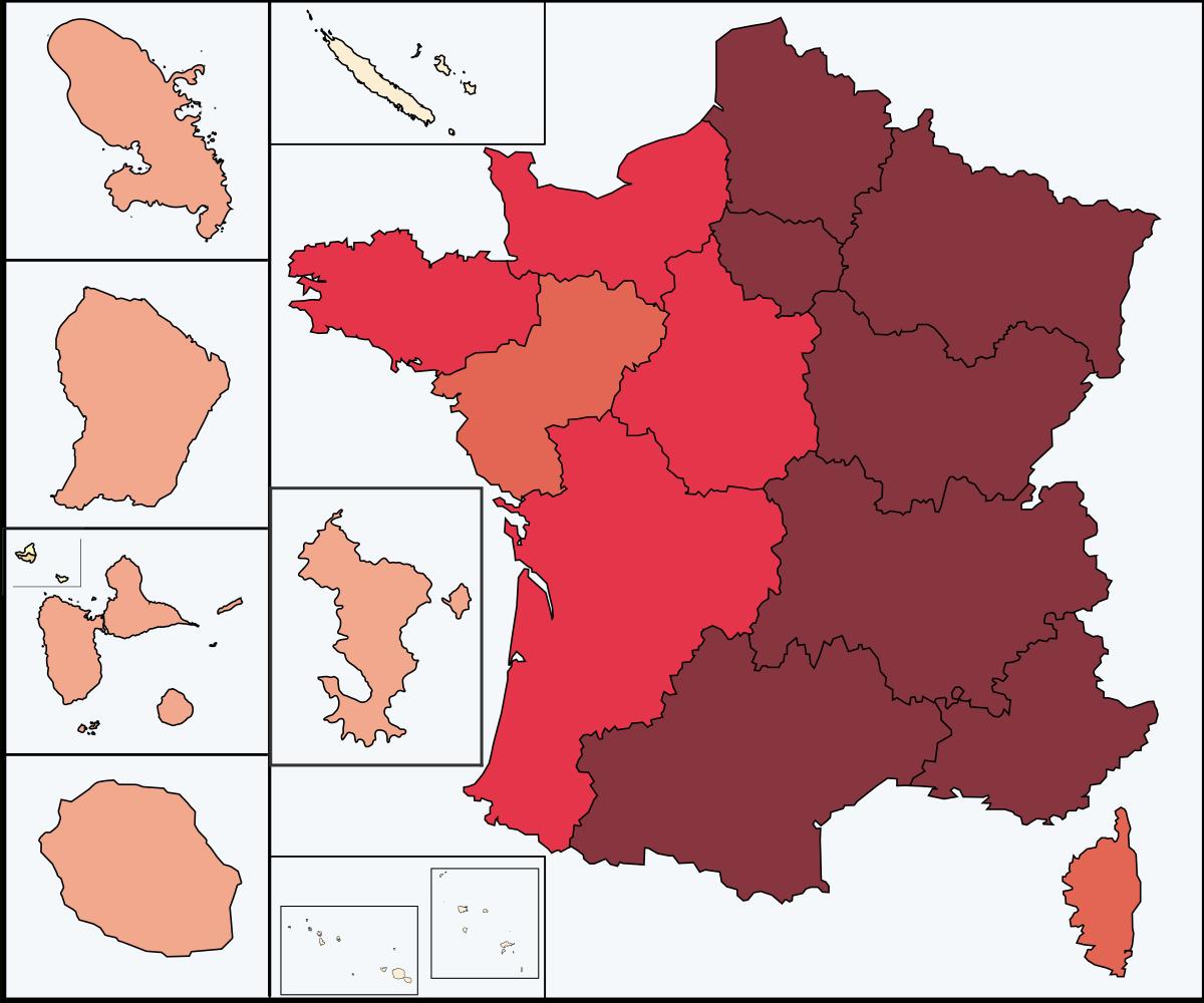 File:covid-19 Outbreak Cases In France 13 Regions.svg avec Les 13 Régions