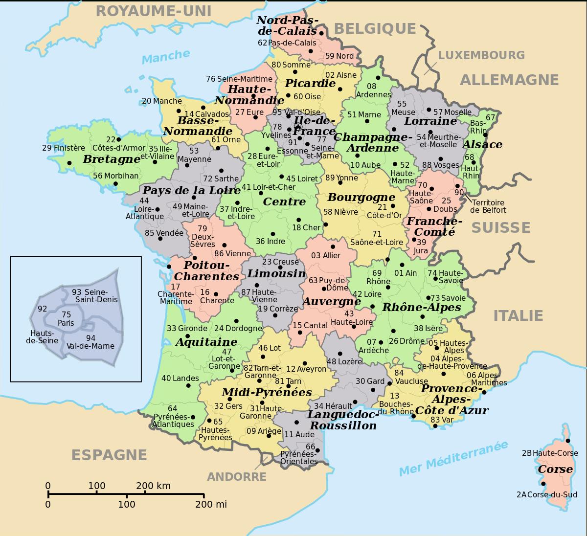 File:départements De France Nom+Num.svg - Wikimedia Commons pour Carte Départementale De La France