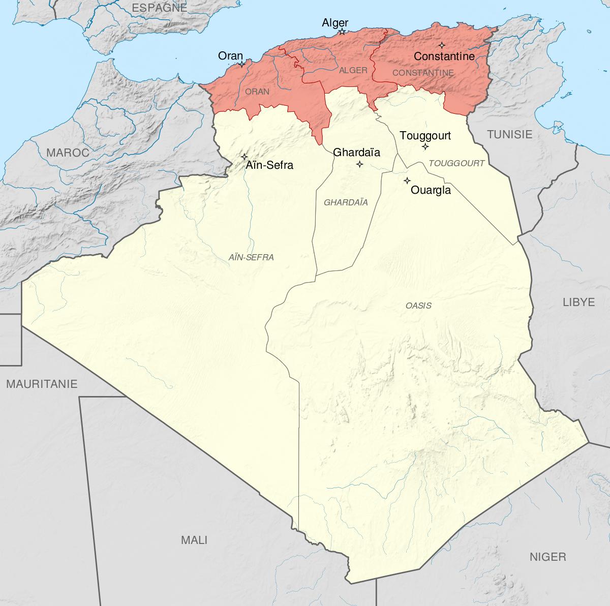 File:départements Français D'algérie 1934-1955 Map-Fr.svg à Carte Departements Francais