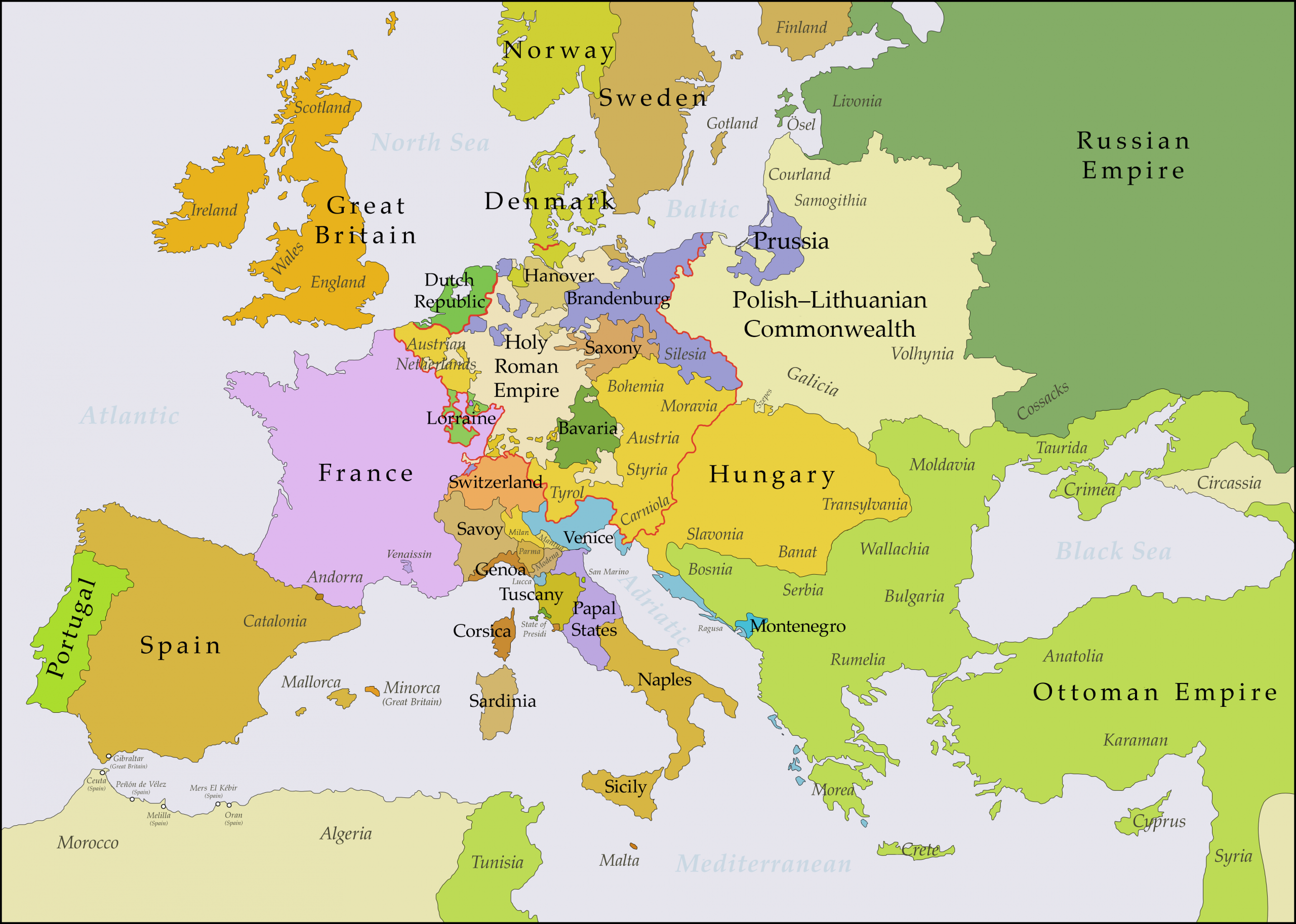 File:europe 1748-1766 En - Wikimedia Commons destiné Carte De L Europe 2017