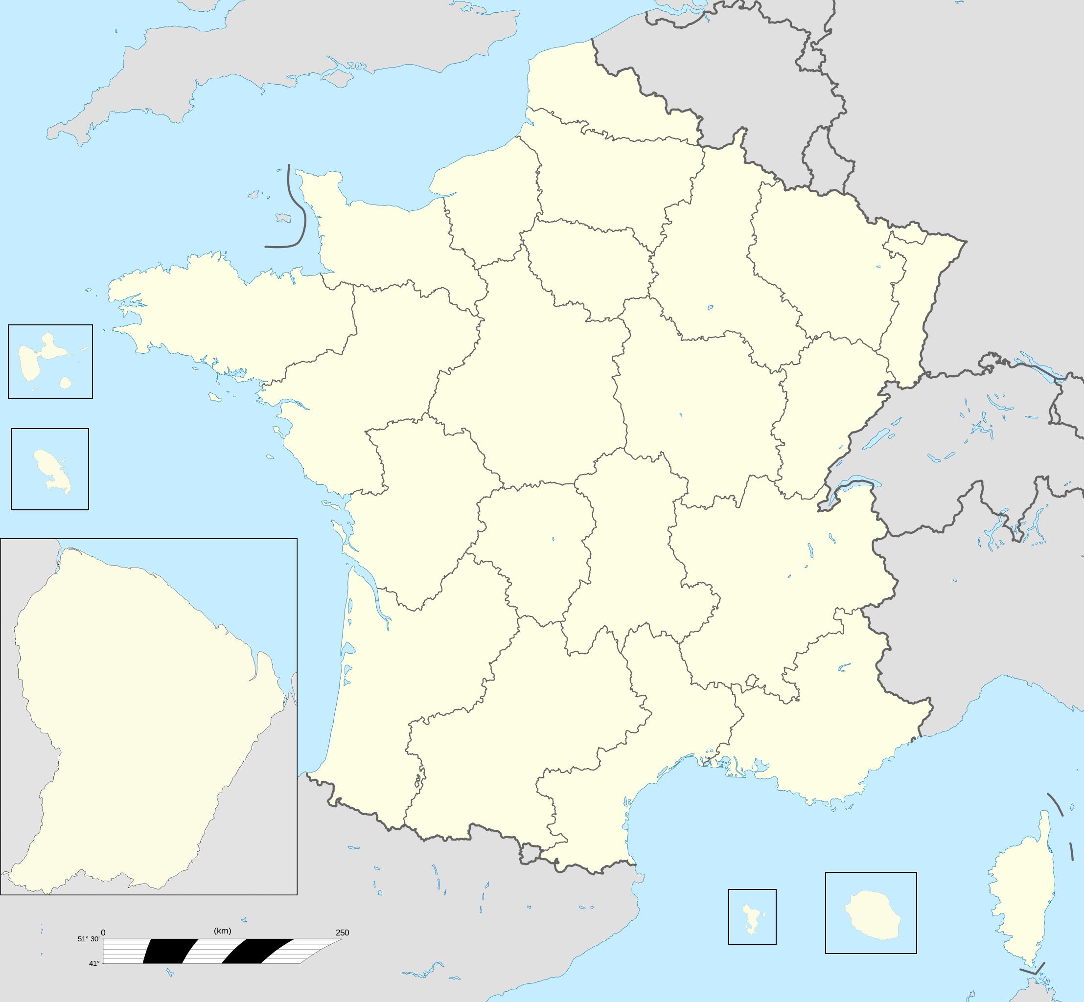 File:france Fond De Carte 27 Régions - Wikimedia Commons à Carte Des Régions De La France