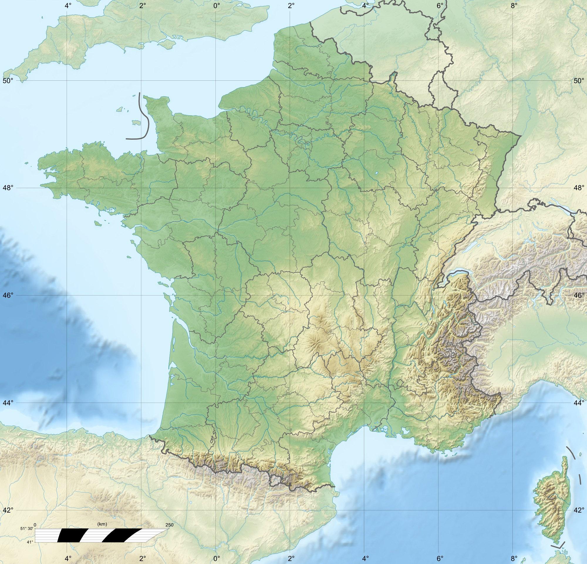 File:france Relief Location Carte Regions Et Departements pour Carte De France Avec Les Départements