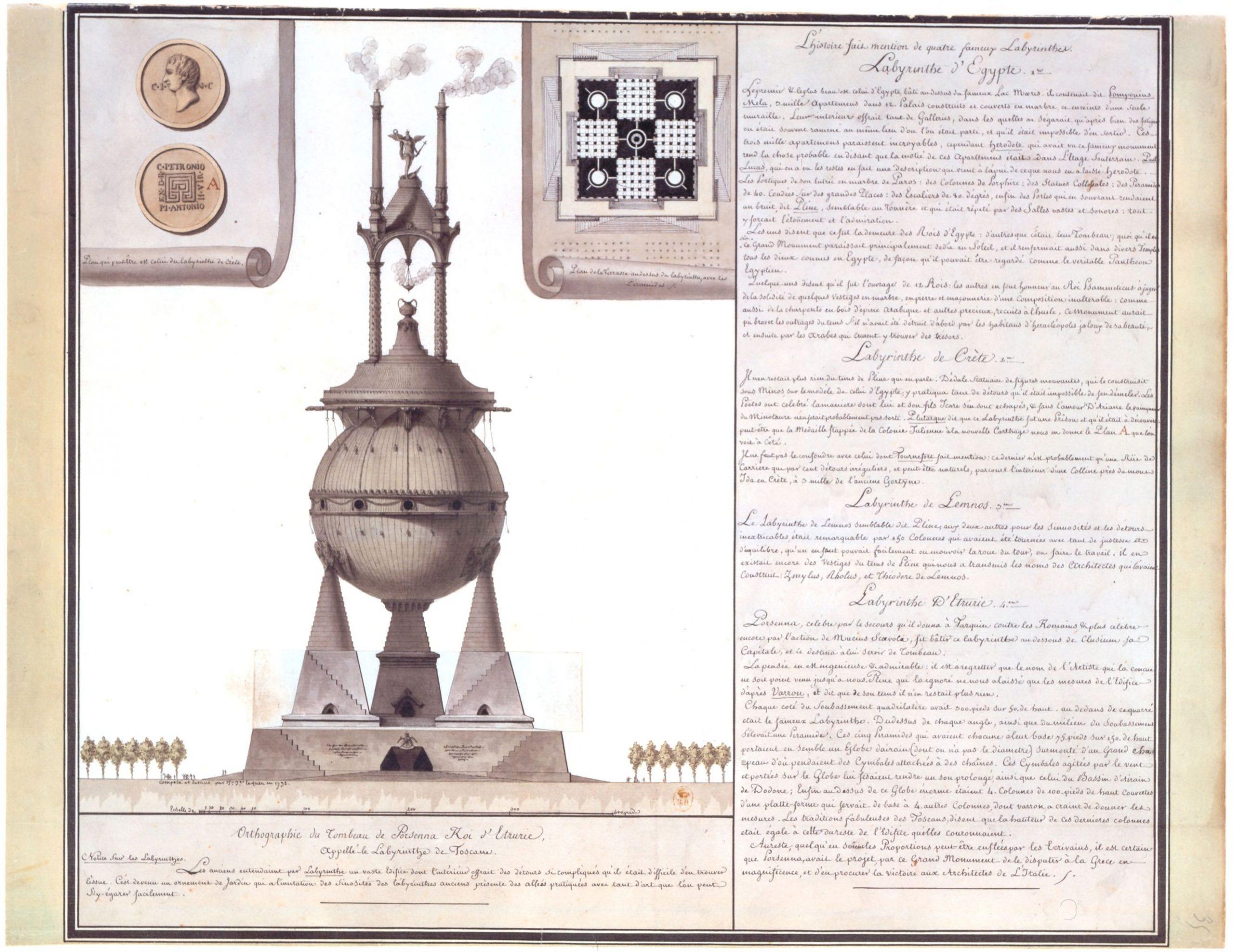 File:jean-Jacques Lequeu, Orthographie Du Tombeau De concernant Labyrinthe Difficile
