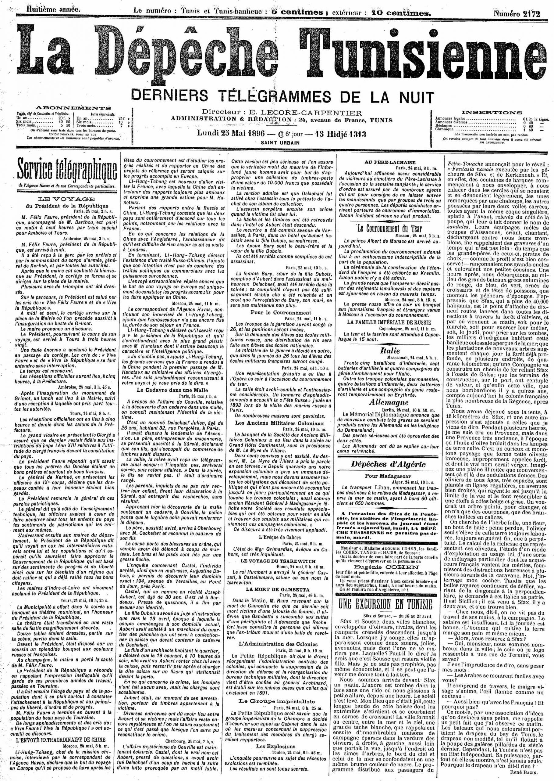 File:la Dépêche Tunisienne - 25.05.1896 - Numéro 2172 à Numéro Des Départements