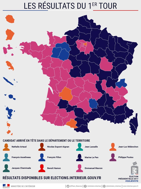 File:les Résultats Du 1Er Tour France 2017 - Wikimedia à Carte Des Départements De France 2017
