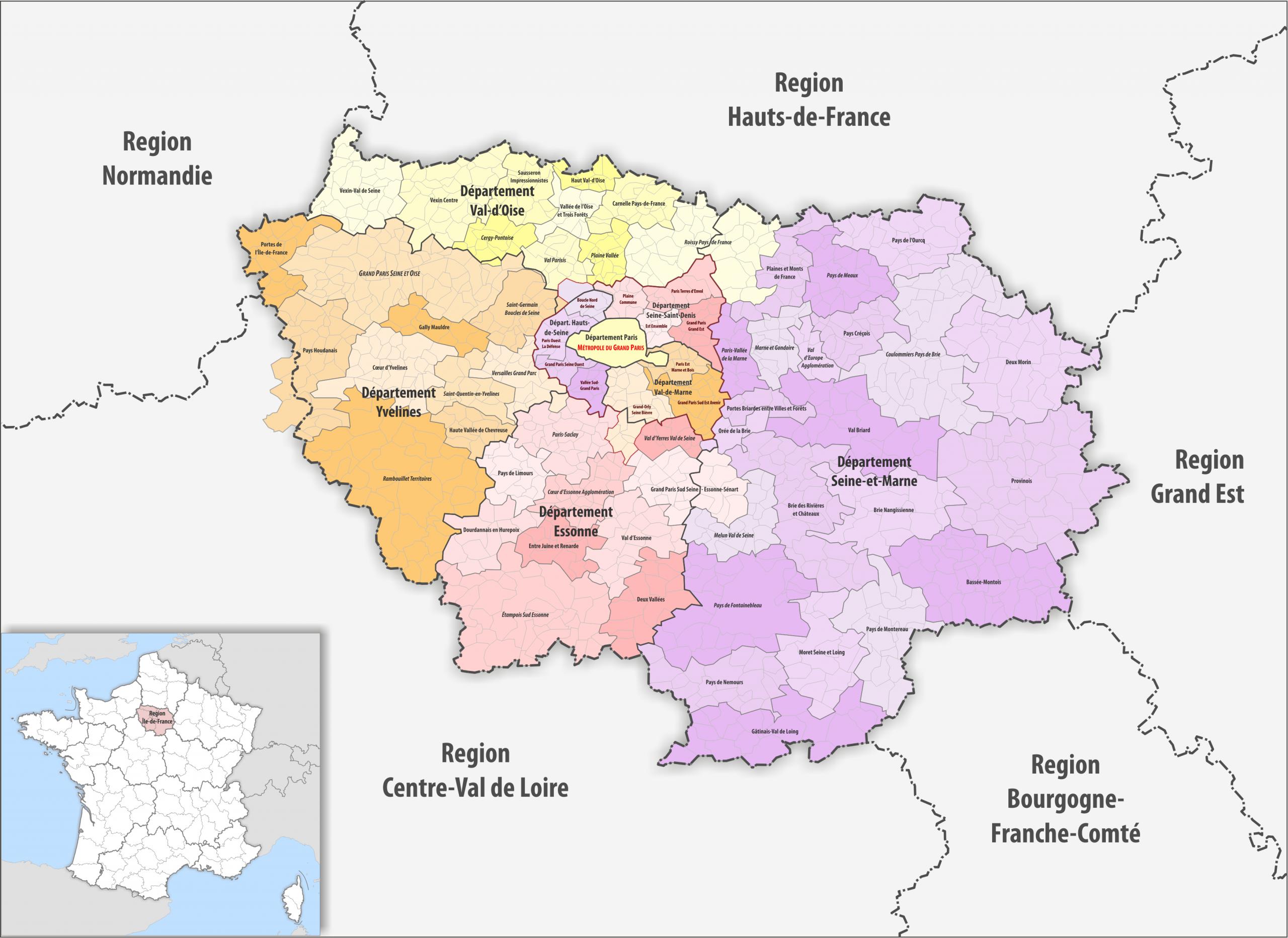 File:region Île-De-France Gemeindeverbände 2018 avec Region De France 2018