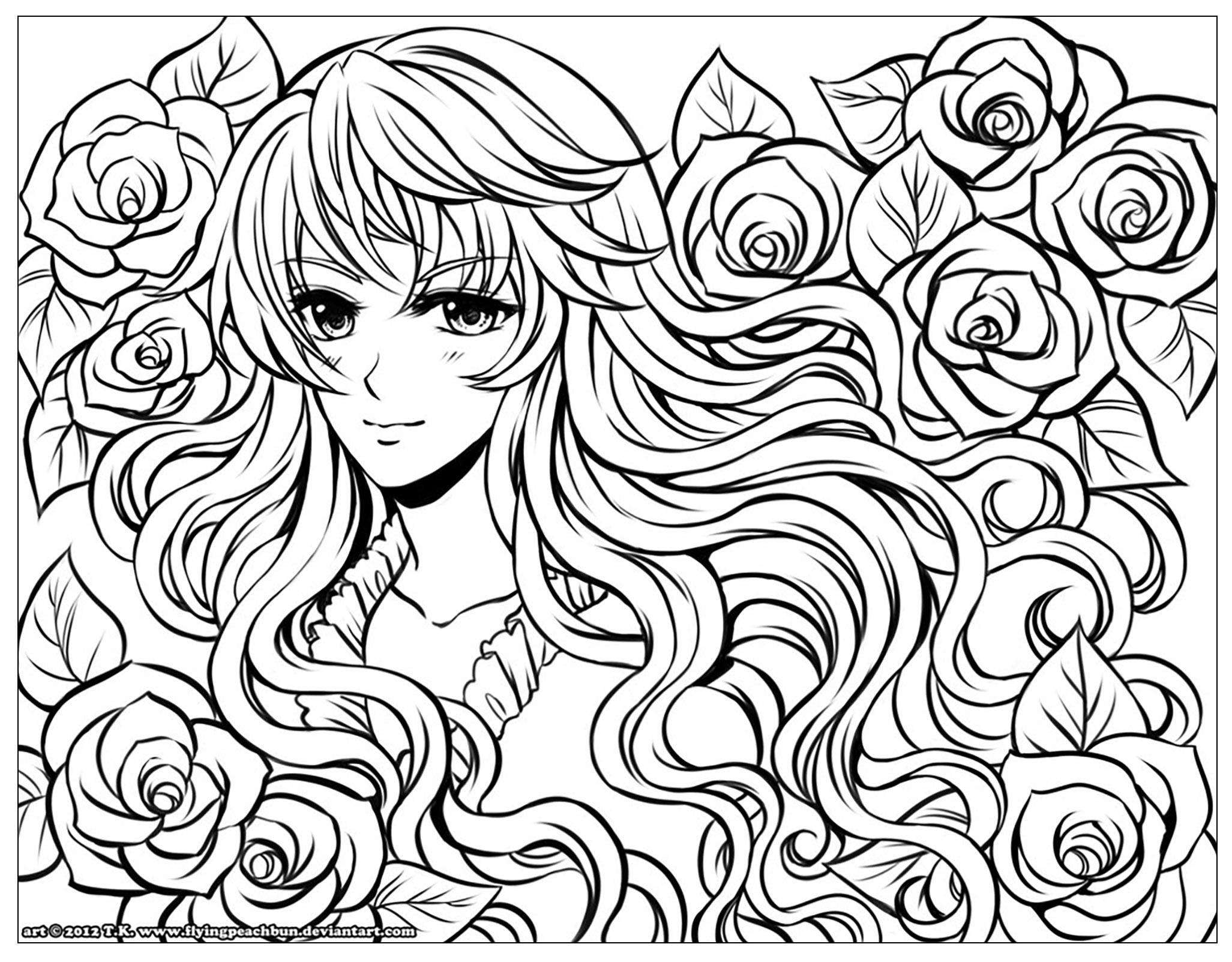 Fille Manga Fleurs Dans Ses Cheveux - Divers Animes Et intérieur Dessin A Colorier De Fleur