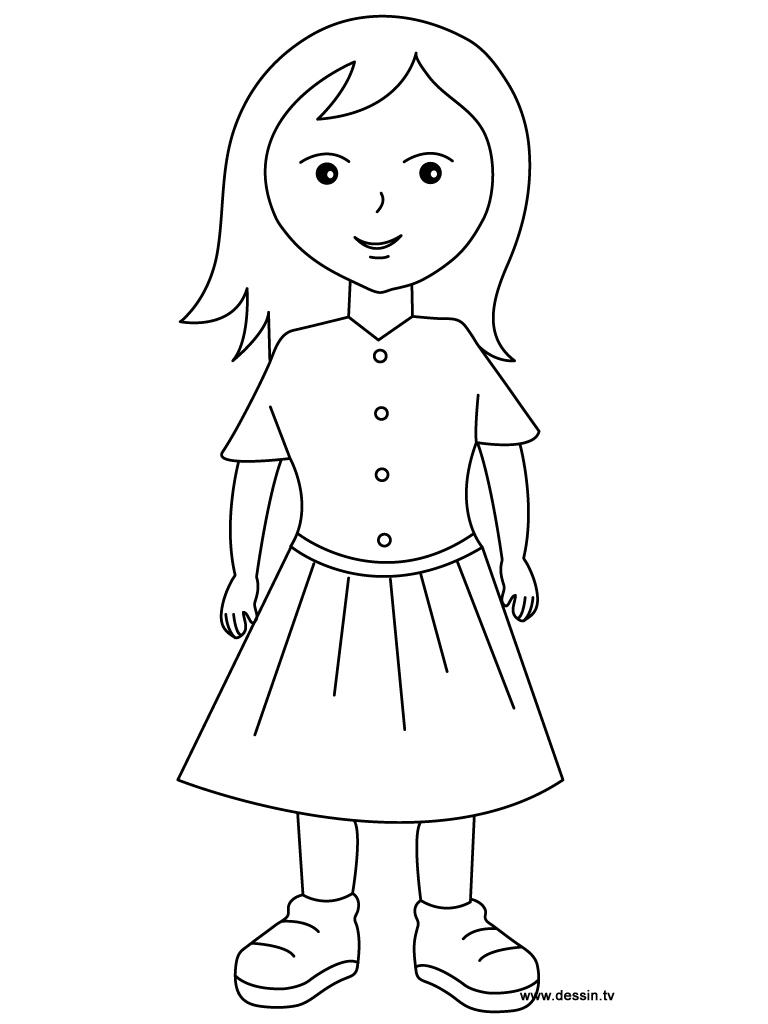Fillette #4 (Personnages) – Coloriages À Imprimer destiné Personnage A Colorier