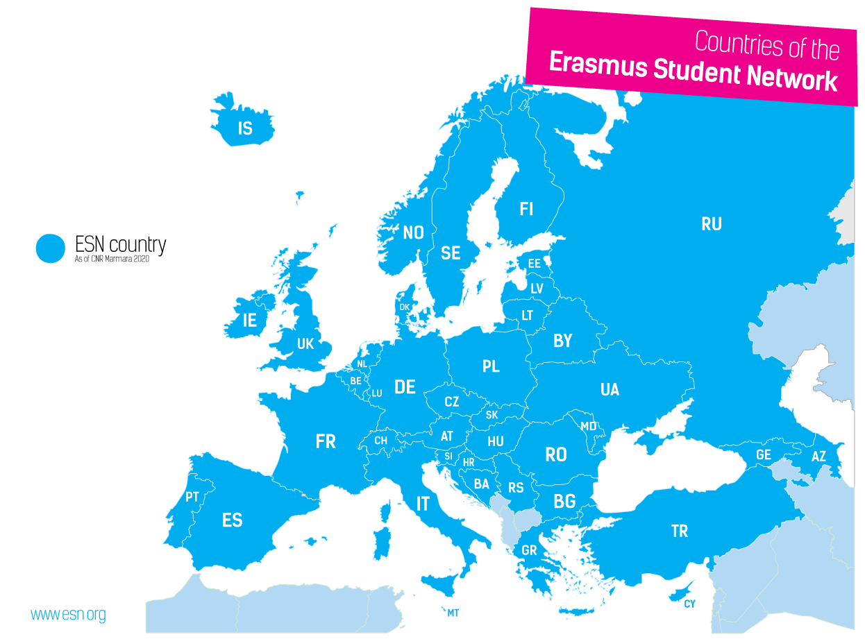 Find Your Esn Section | Erasmus Student Network encequiconcerne Carte D Europe 2017