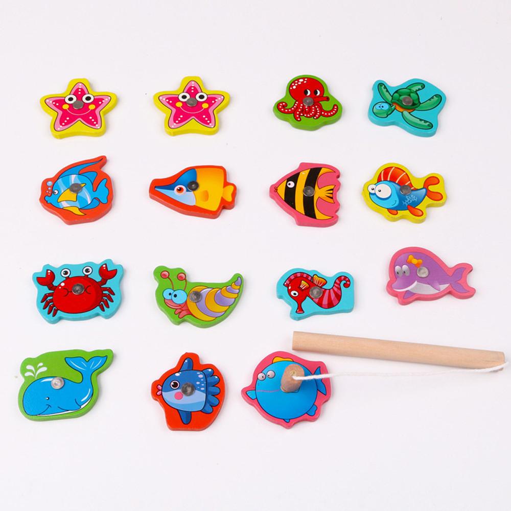 Fish Wooden Magnetic Fishing Toy Set Educational Fishing Game Toy Jeux  Enfant Educatif Magneet Vissen Enfant Jeux Pour Bain intérieur Jeux Enfant Educatif