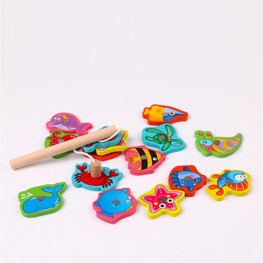 Fish Wooden Magnetic Fishing Toy Set Educational Fishing Game Toy Jeux  Enfant Educatif Magneet Vissen Enfant Jeux Pour Bain pour Jeux Enfant Educatif