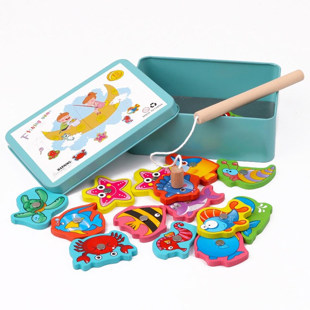 Fish Wooden Magnetic Fishing Toy Set Educational Fishing Game Toy Jeux  Enfant Educatif Magneet Vissen Enfant Jeux Pour Bain tout Jeux Enfant Educatif