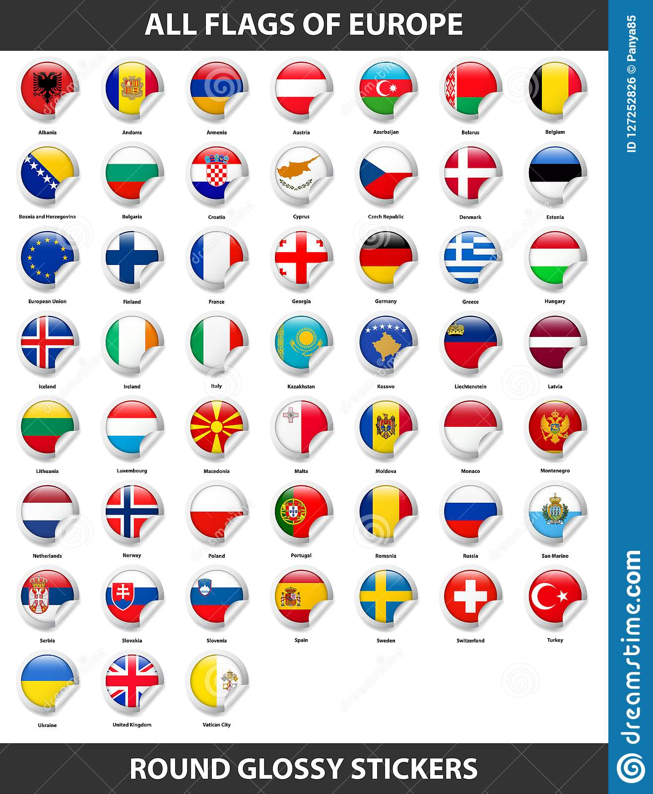Flags Of All Countries Of Europe. Round Glossy Stickers intérieur Tout Les Pays D Europe