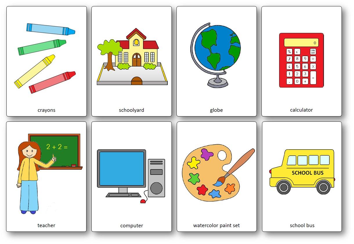 Flashcards Sur Le Matériel De Classe En Anglais - Outils De concernant Jeux En Anglais A Imprimer