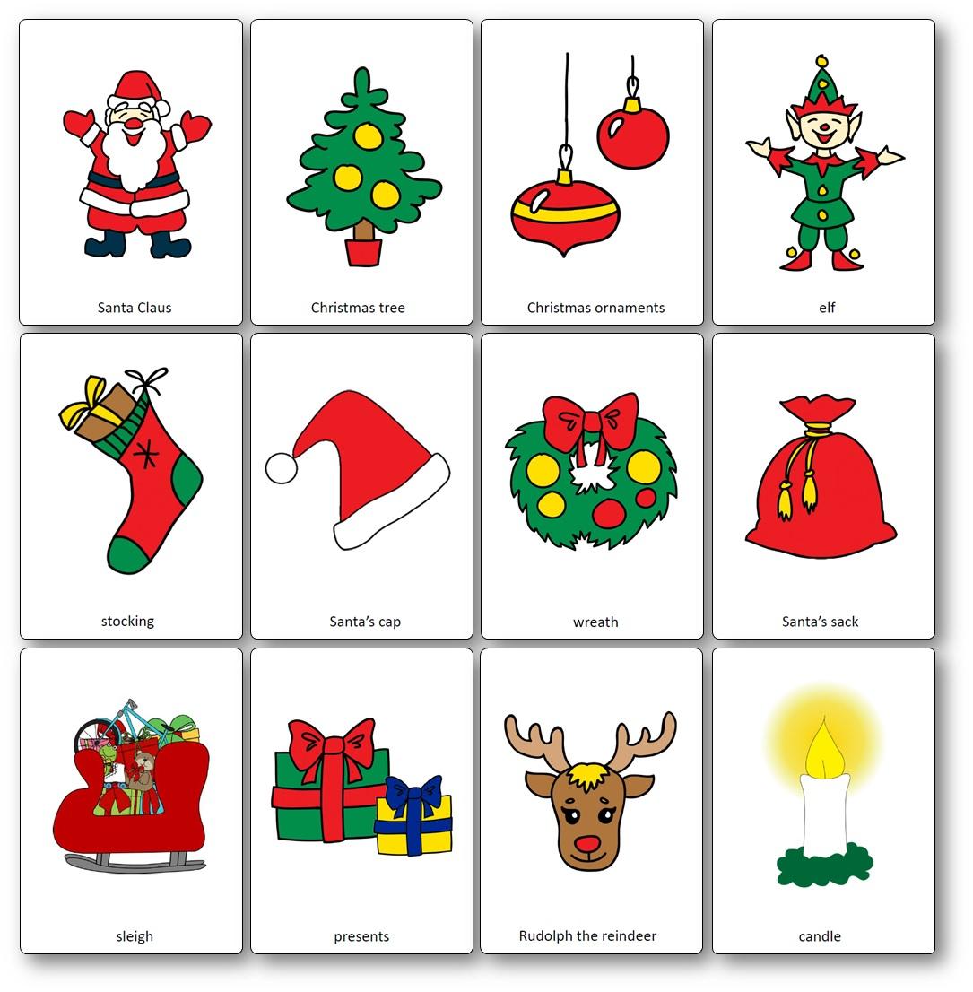 Flashcards Sur Le Thème De Noël En Anglais - Flashcards Noël avec Imagier Noel Maternelle