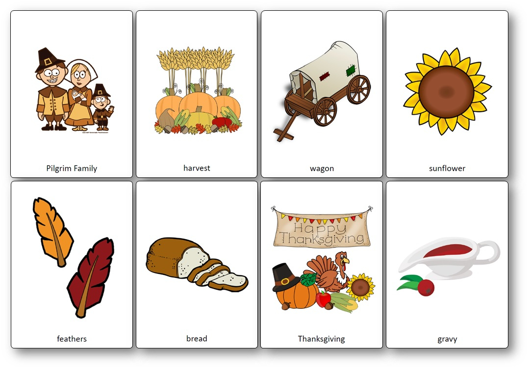 Flashcards Sur Le Thème De Thanksgiving En Anglais - Imagier intérieur Jeu En Anglais À Imprimer