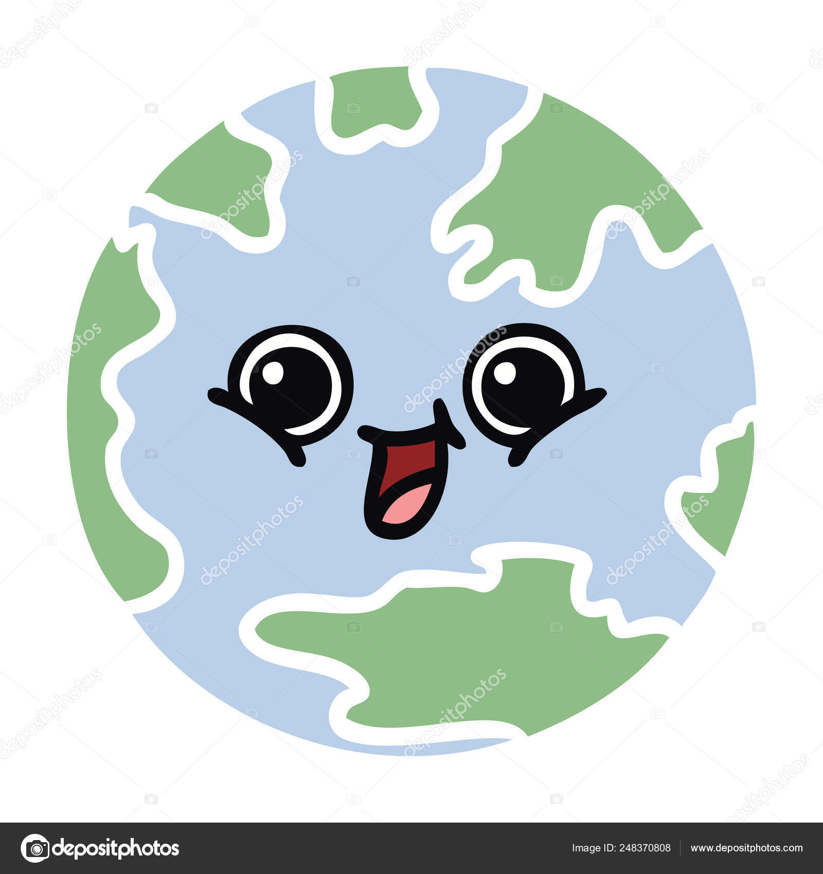 Flat Color Retro Cartoon Planet Earth — Stock Vector concernant Image De La Terre Dessin