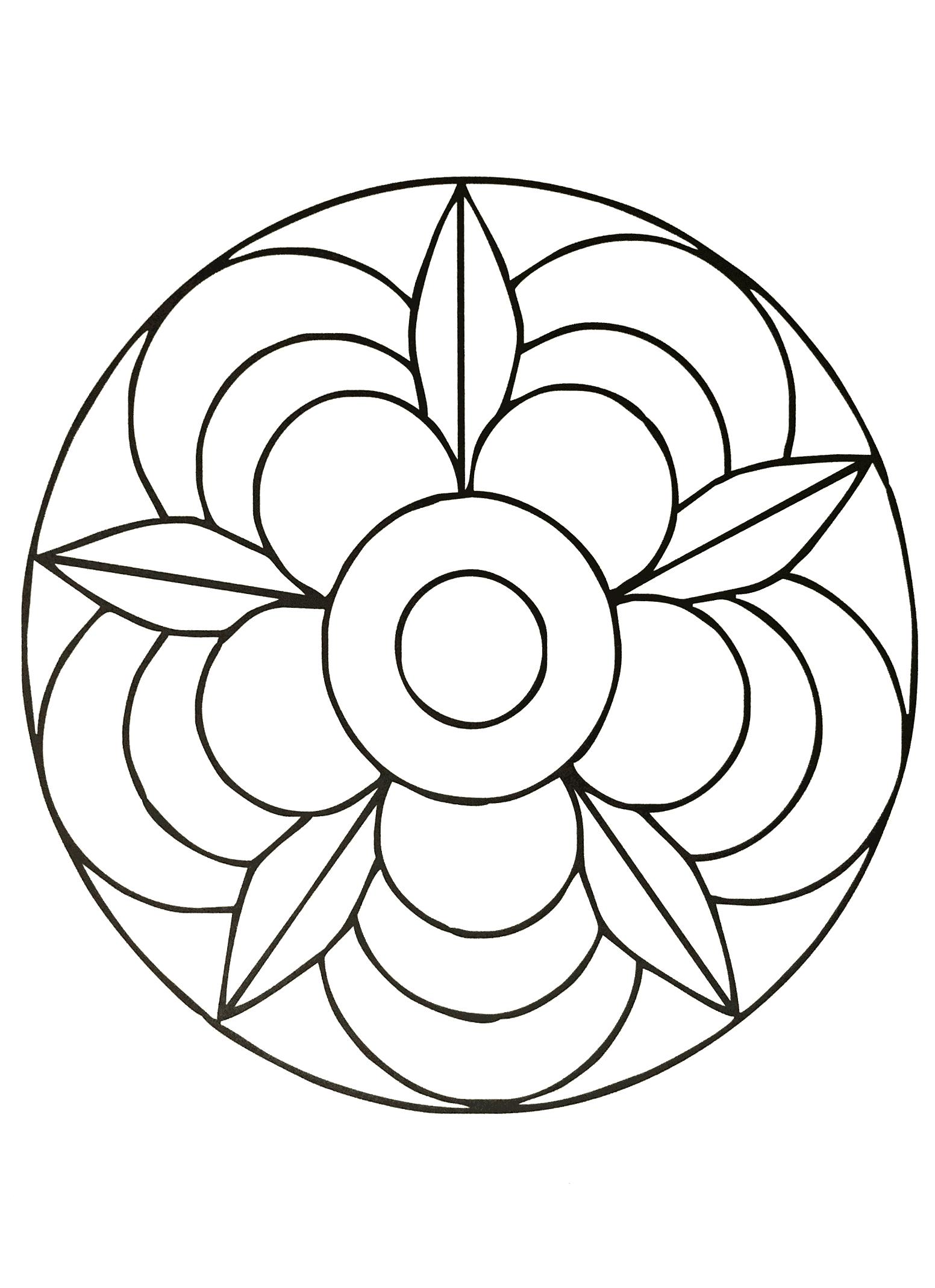 Fleur Mandala - Mandalas Faciles (Pour Enfants) - 100 intérieur Mandala À Imprimer Facile