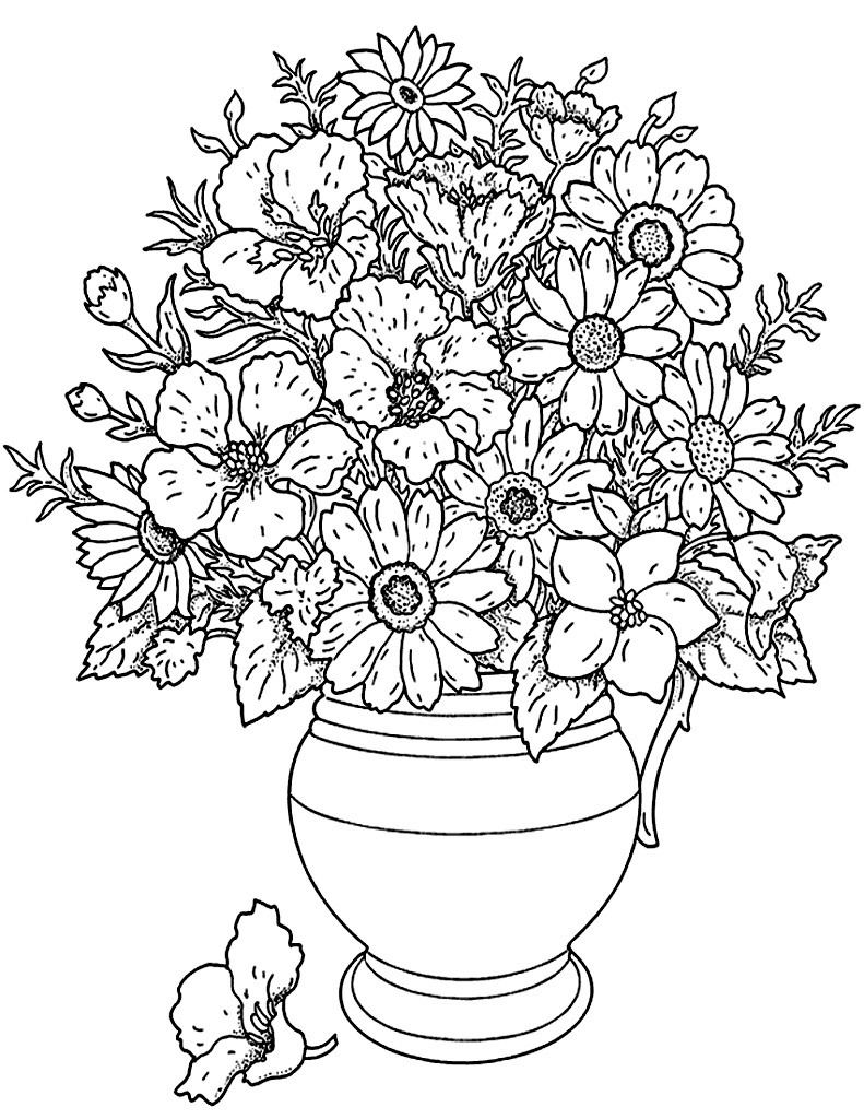 Fleurs Bouquet - Fleurs Et Végétation - Coloriages encequiconcerne Dessin A Colorier De Fleur