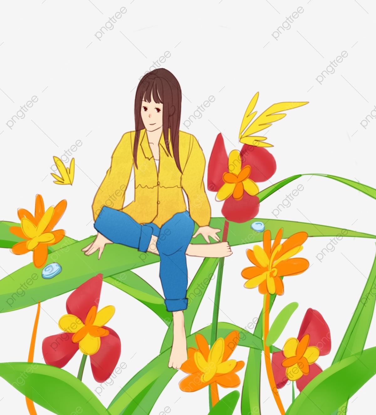 Fleurs Jaunes Illustration De Dessin Animé Paysage De à Dessin Printemps Paysage